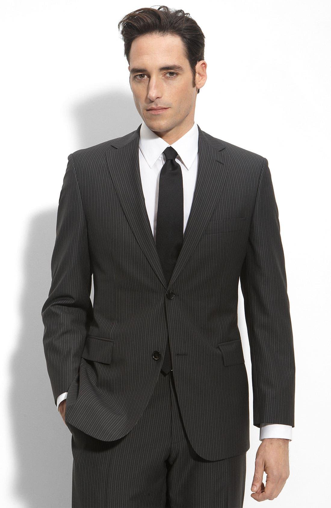 BOSS Black 'Pasolini/Movie' Charcoal Stripe Wool Suit,                             Main thumbnail 1, color,                             Charcoal Stripe