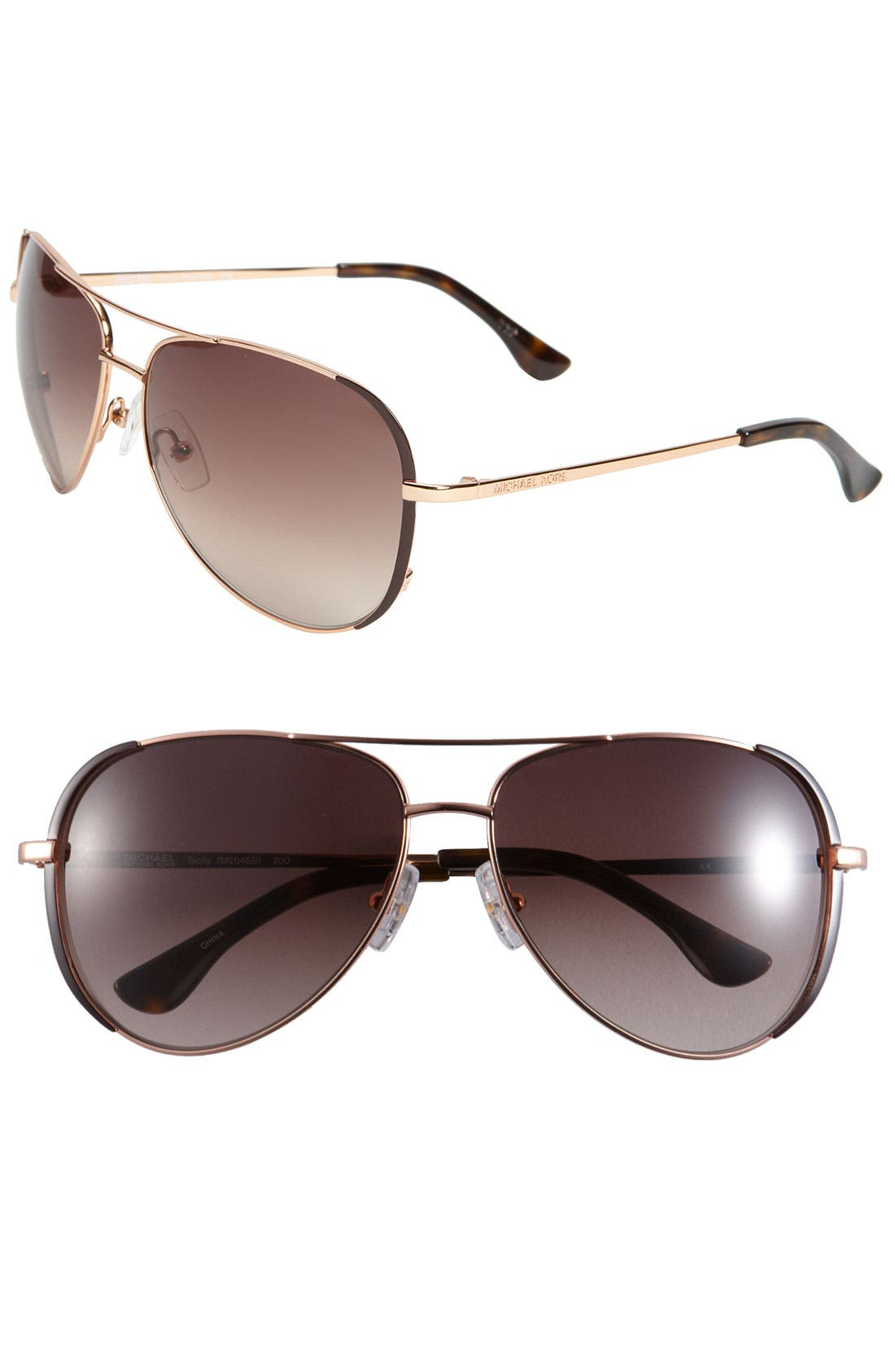 Alternate Image 1 Selected - MICHAEL Michael Kors 'Sicily' 59mm Metal Aviator Sunglasses