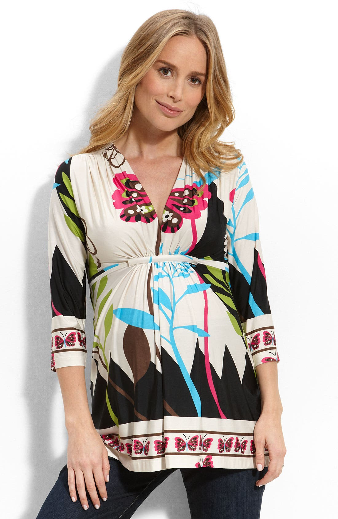 Stripe Bodice Short Sleeve Maternity Dress,                             Main thumbnail 1, color,                             Beige Multi
