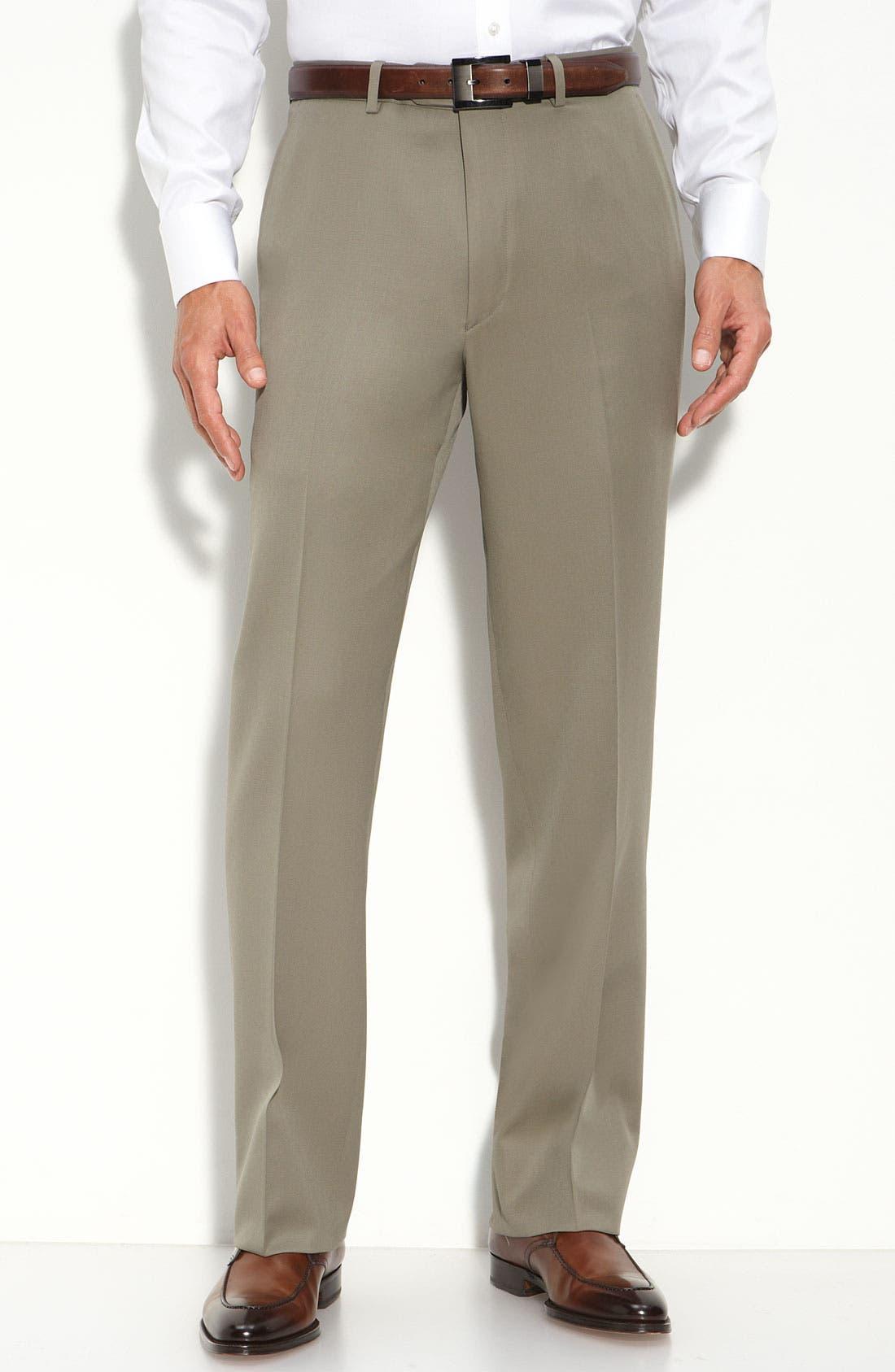 Main Image - Pazoni Flat Front Wool Gabardine Trousers