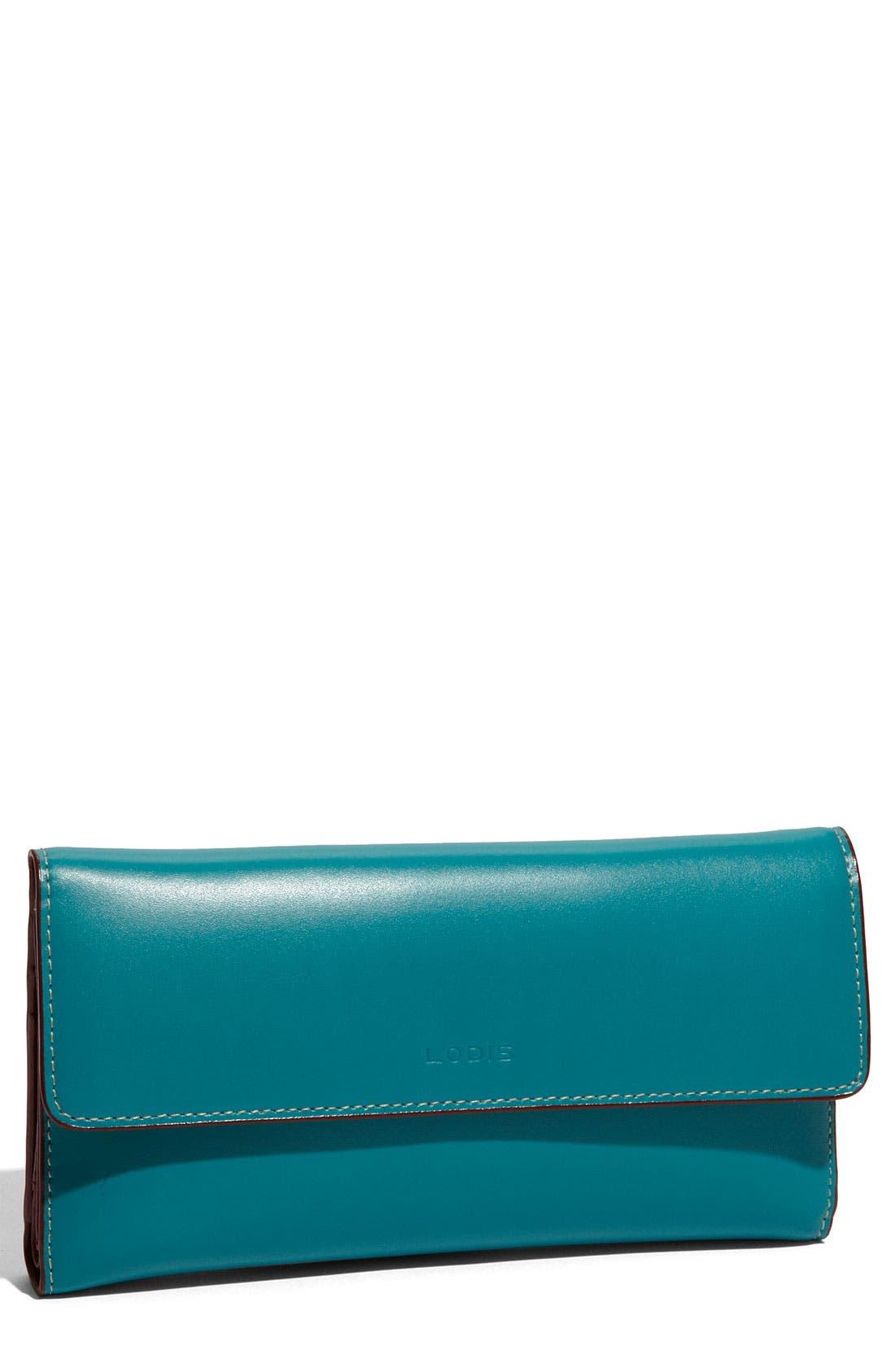 Lodis 'Audrey' Checkbook Clutch Wallet,                         Main,                         color, Teal/ Merlot