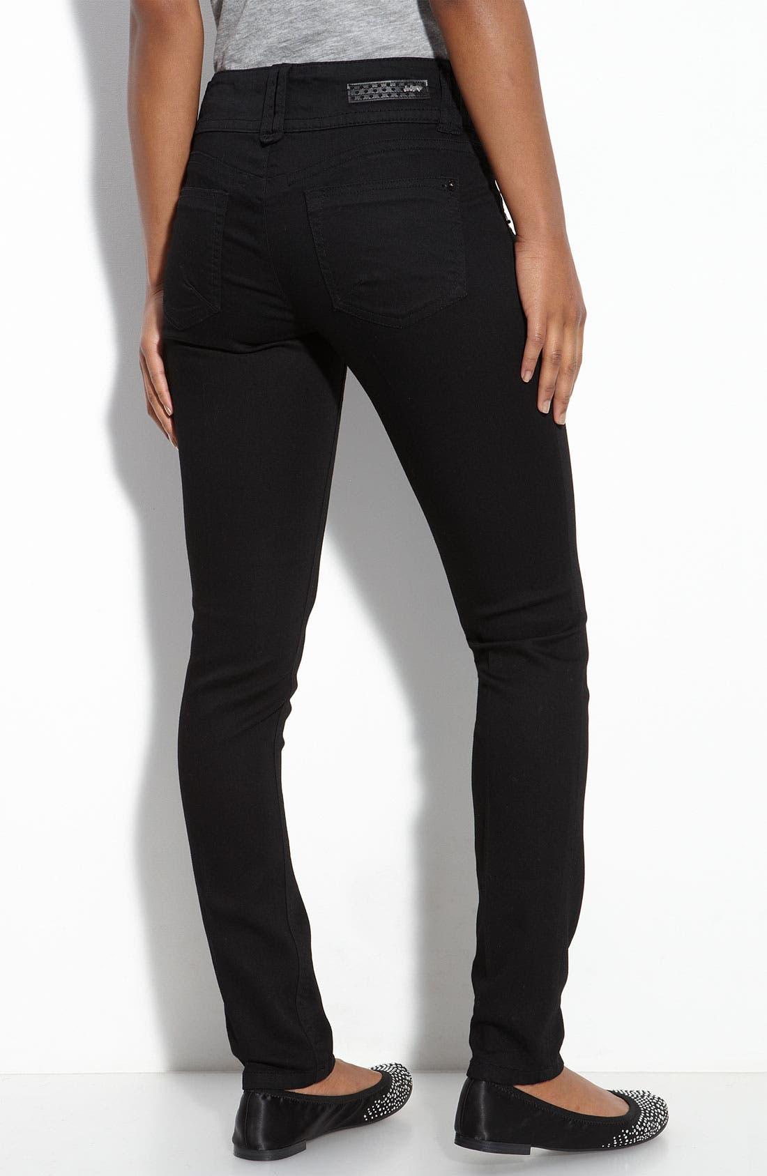 Alternate Image 1 Selected - Jolt Double Button Skinny Denim Pants (Black Wash) (Juniors)