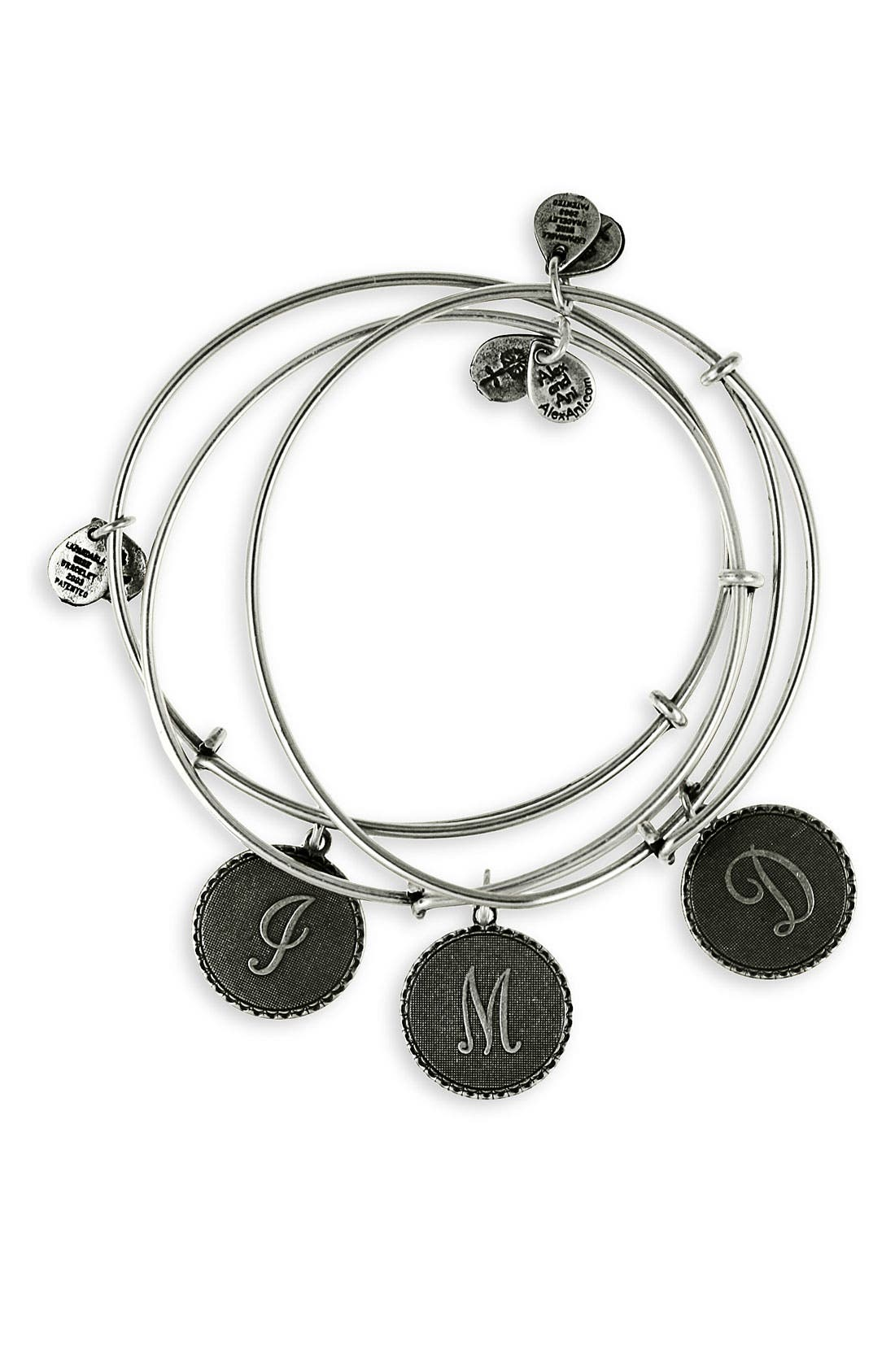 Main Image - Alex and Ani Script Initial Expandable Wire Bangle