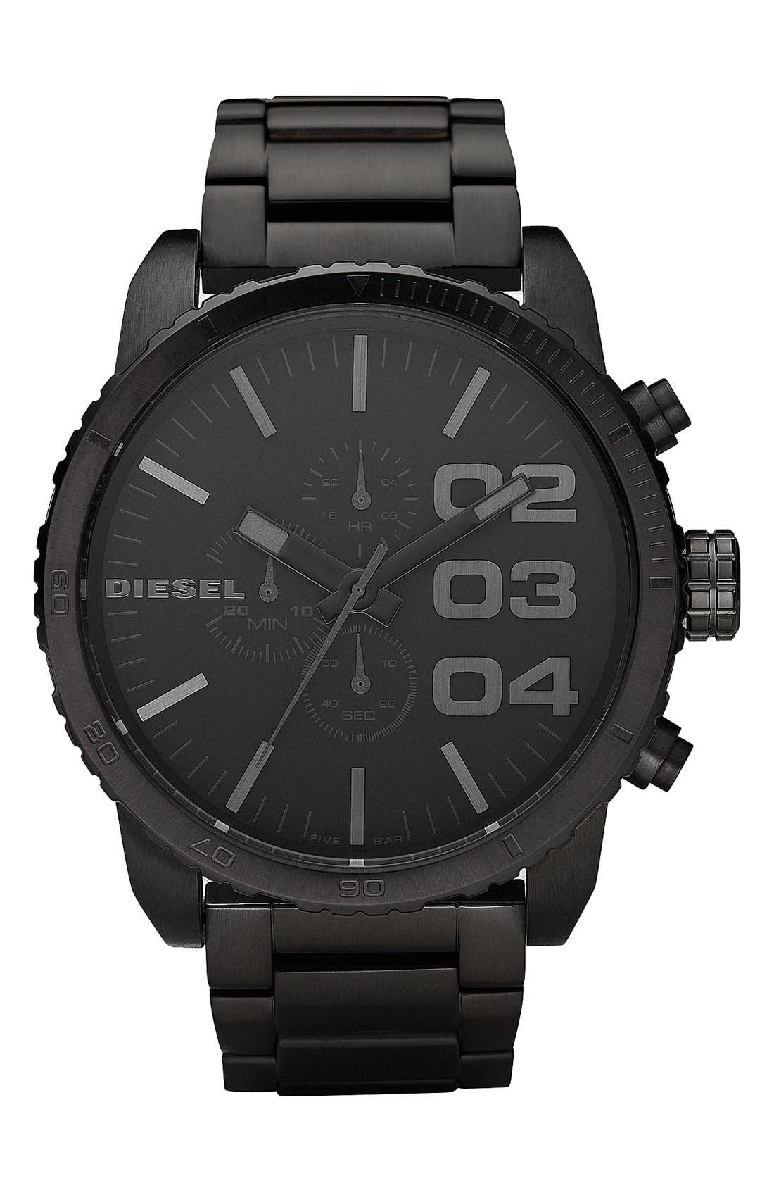 Alternate Image 1 Selected - DIESEL® 'Double Down' Chronograph Bracelet Watch, 51mm