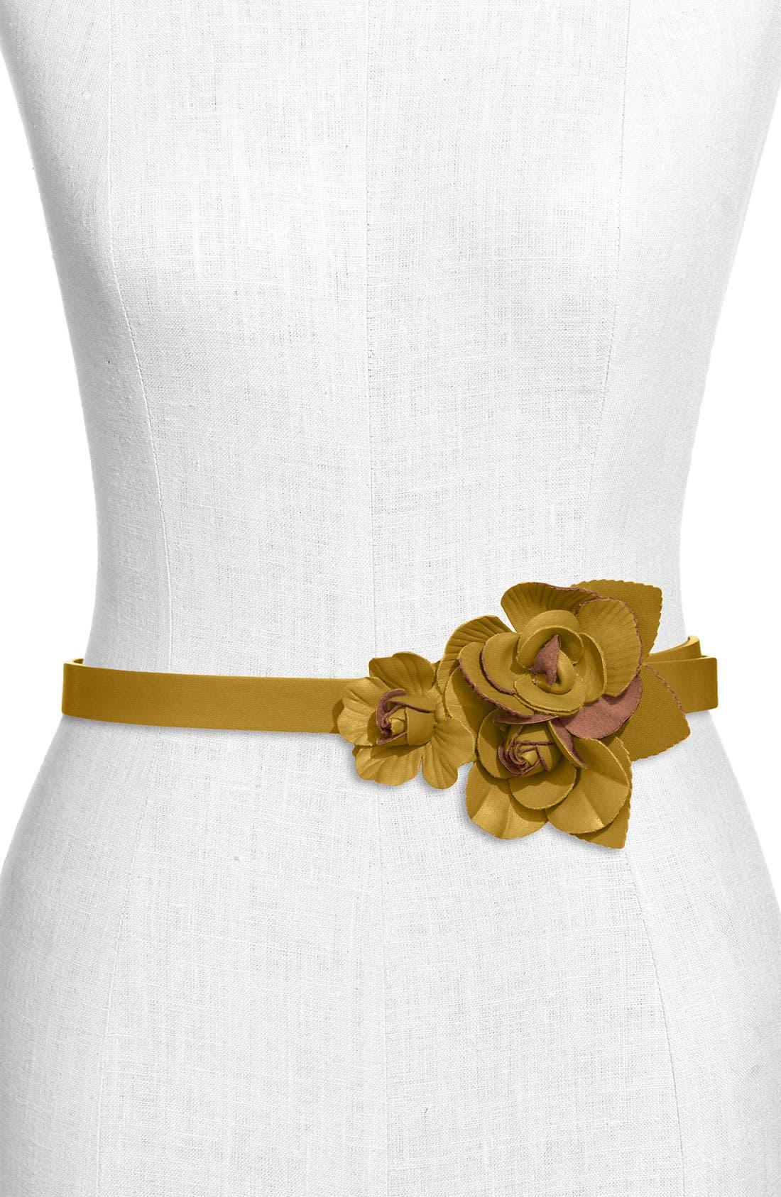 Main Image - Tarnish 'Flower' Faux Leather Belt