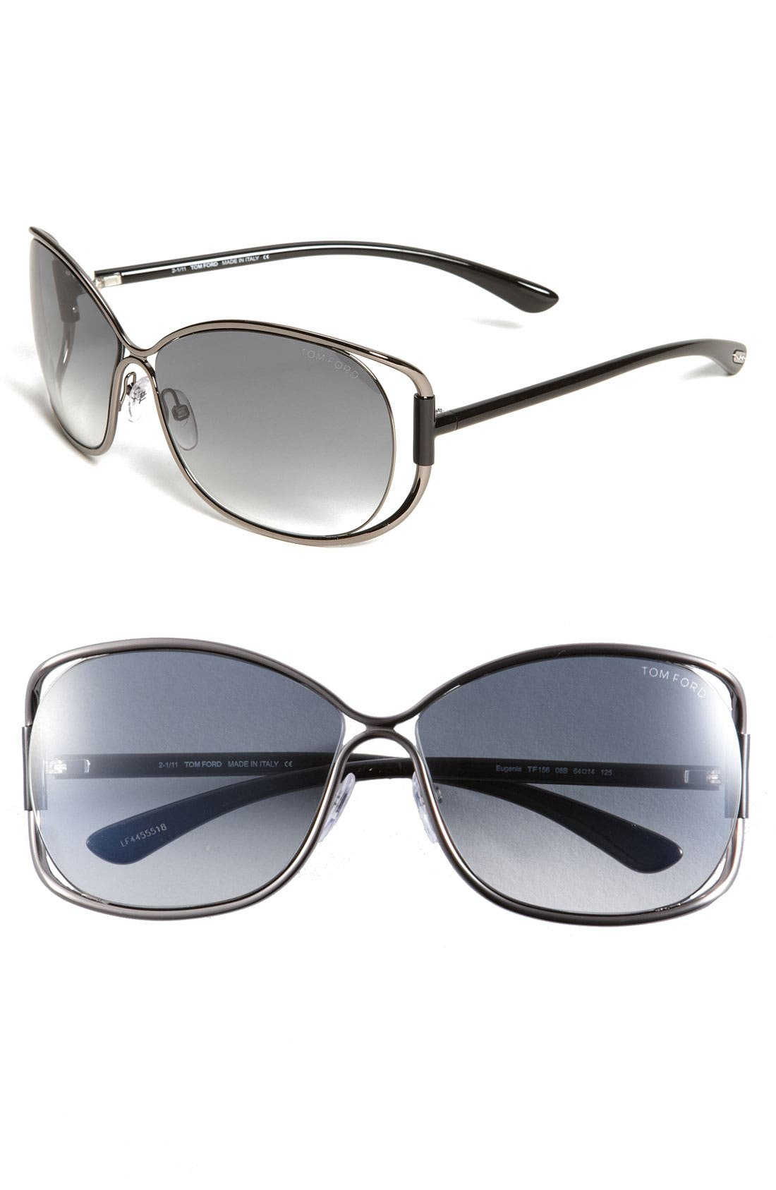 Alternate Image 1 Selected - Tom Ford 'Eugenia' 64mm Open Temple Sunglasses