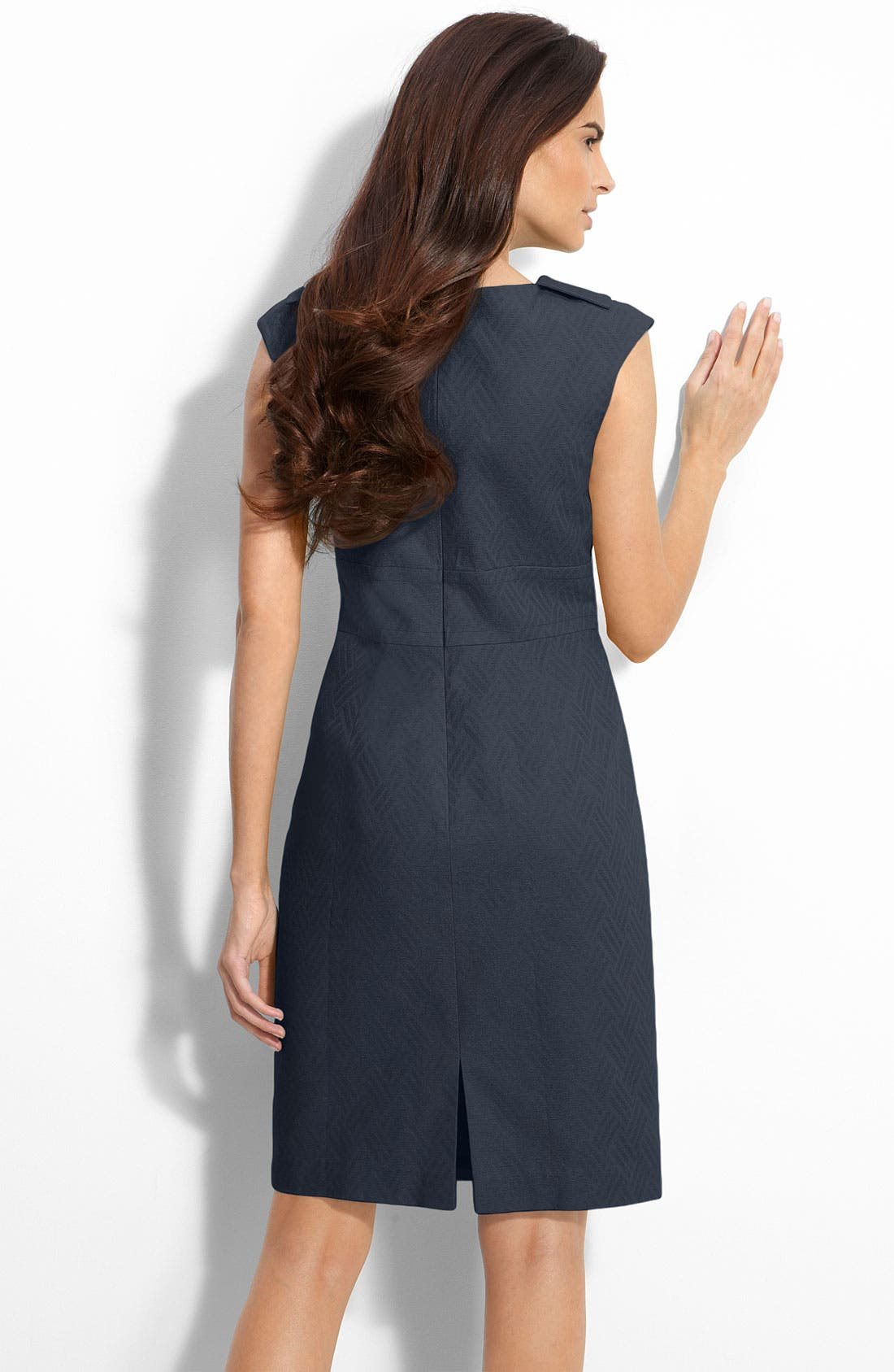 Alternate Image 2  - Eliza J Folded Collar Jacquard Sheath Dress