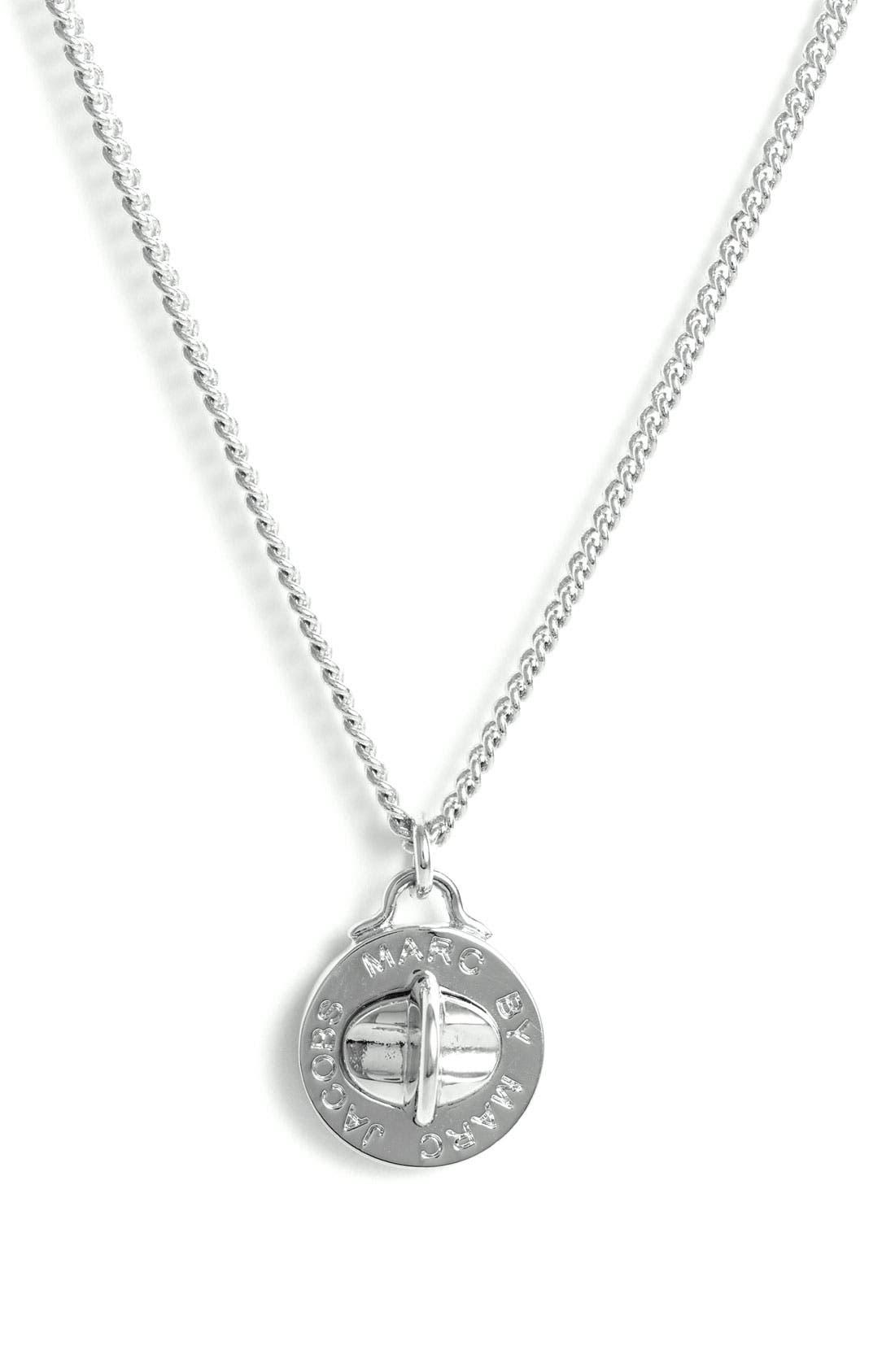 'Turnlock' Pendant Necklace,                         Main,                         color, Silver