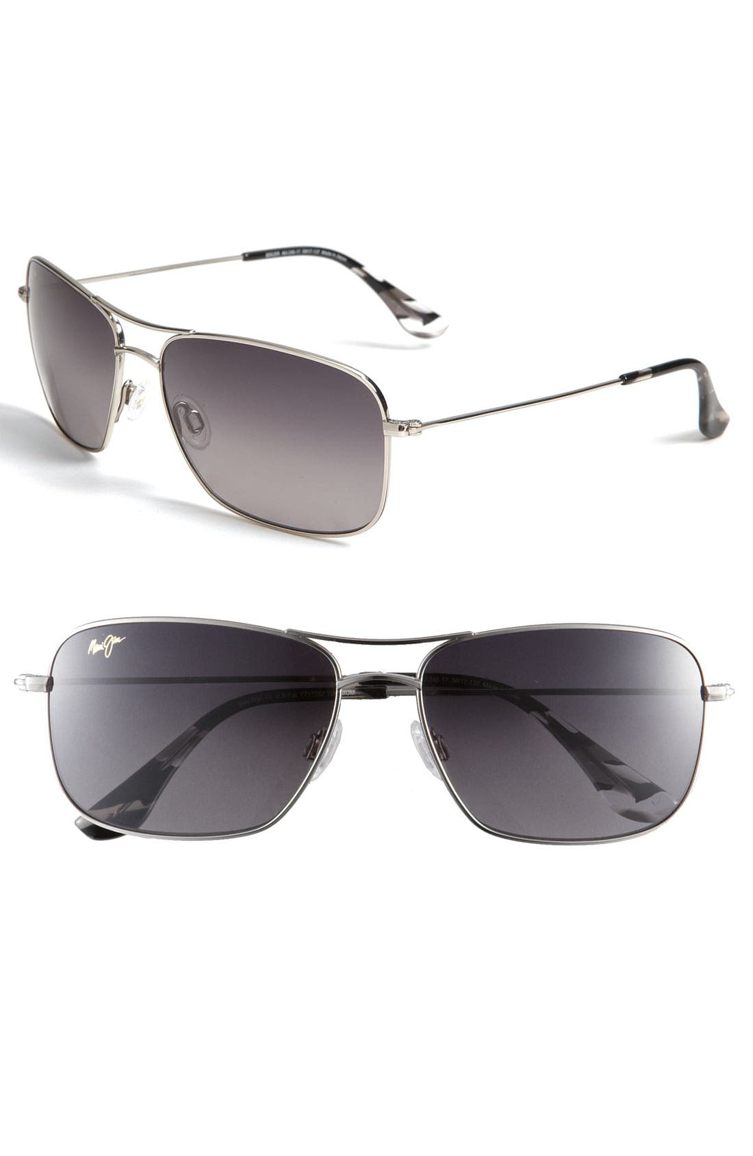 Wiki Wiki 59mm PolarizedPlus2<sup>®</sup> Aviator Sunglasses,                         Main,                         color, Silver/ Neutral Grey