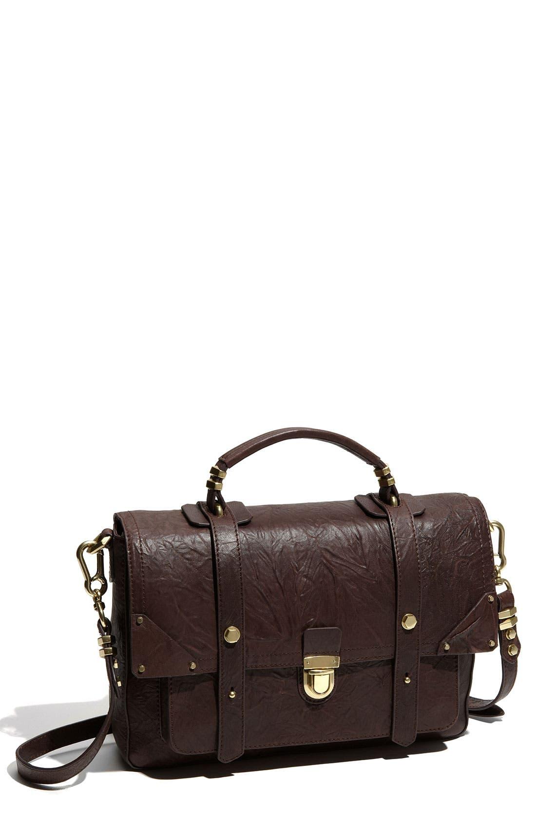 Leather Flap Satchel,                         Main,                         color, Chocolate