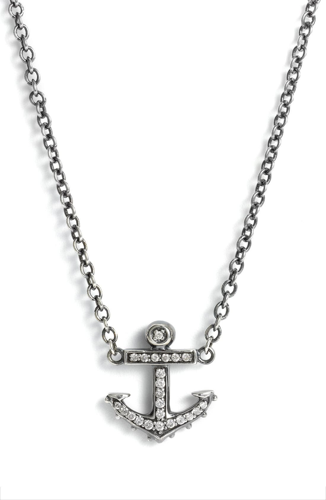 Alternate Image 1 Selected - Elizabeth and James 'Sea Creatures' Anchor & Sapphire Pendant Necklace