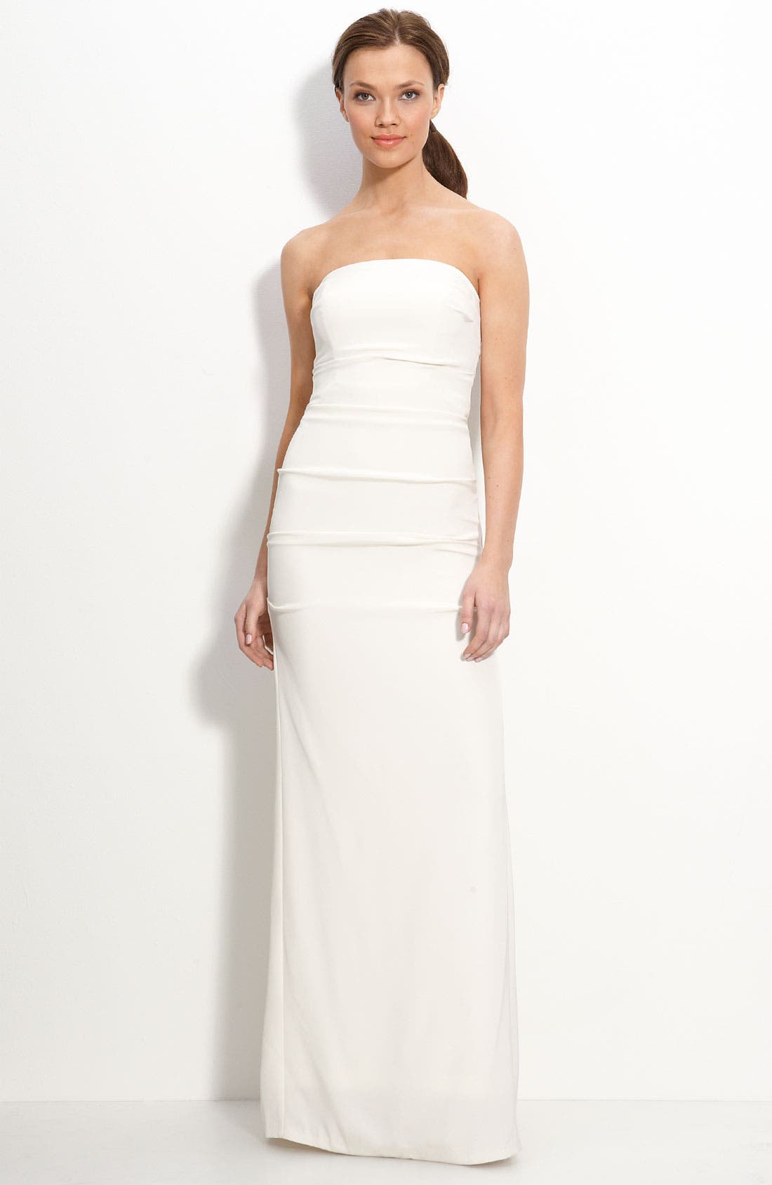 Main Image - Nicole Miller Pintucked Crêpe de Chine Strapless Gown