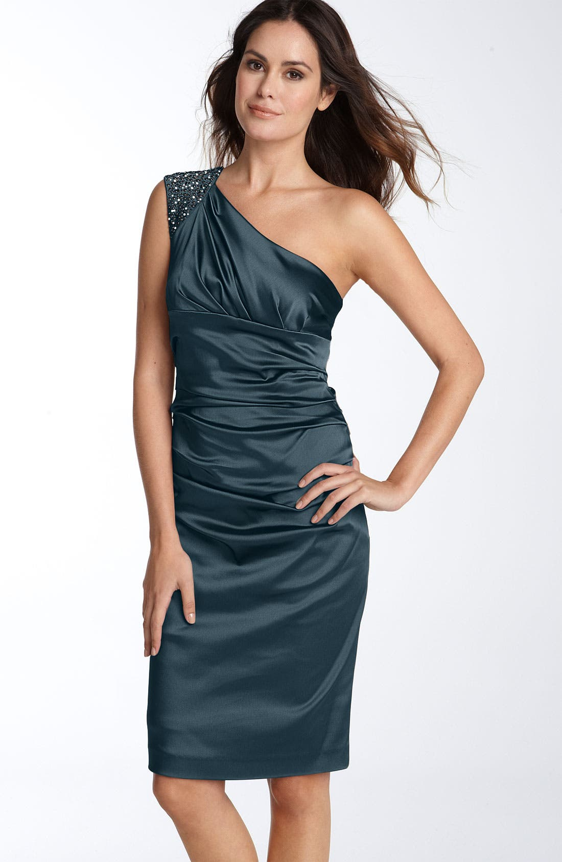 Beaded One Shoulder Stretch Satin Sheath Dress,                             Main thumbnail 1, color,                             Indian Teal