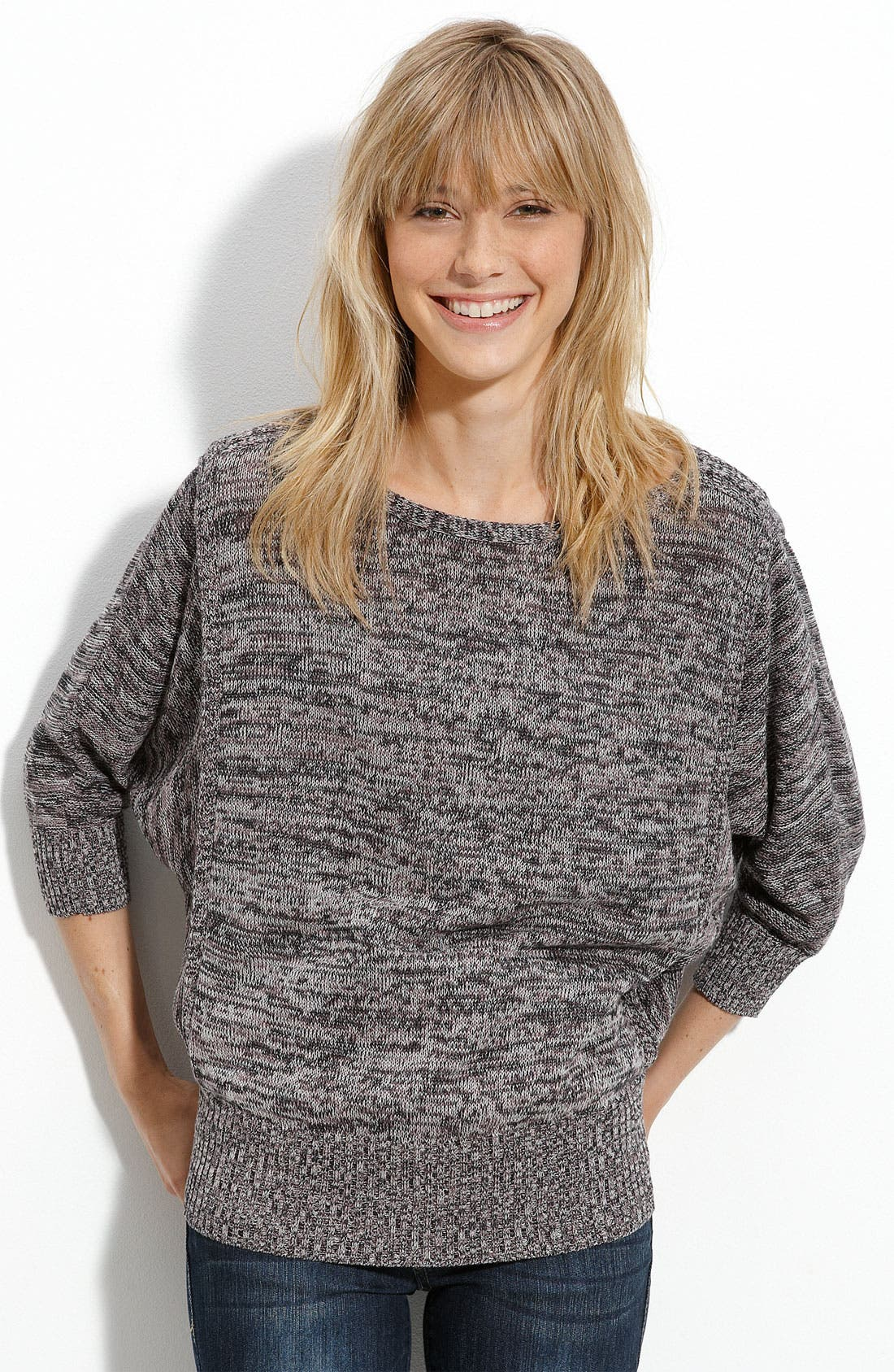 Alternate Image 1 Selected - Rubbish® Space Dye Dolman Sleeve Sweater (Juniors)