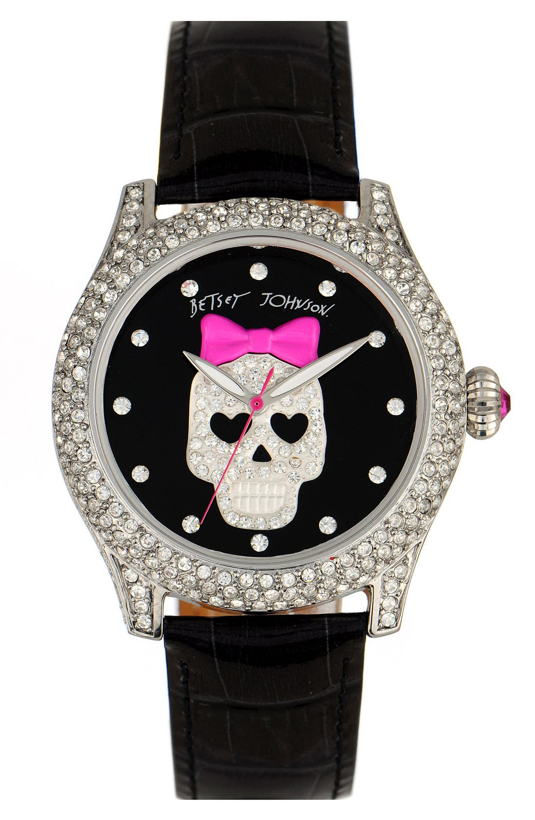 Alternate Image 1 Selected - Betsey Johnson 'Bling Bling Time' Skull Dial Leather Strap Watch