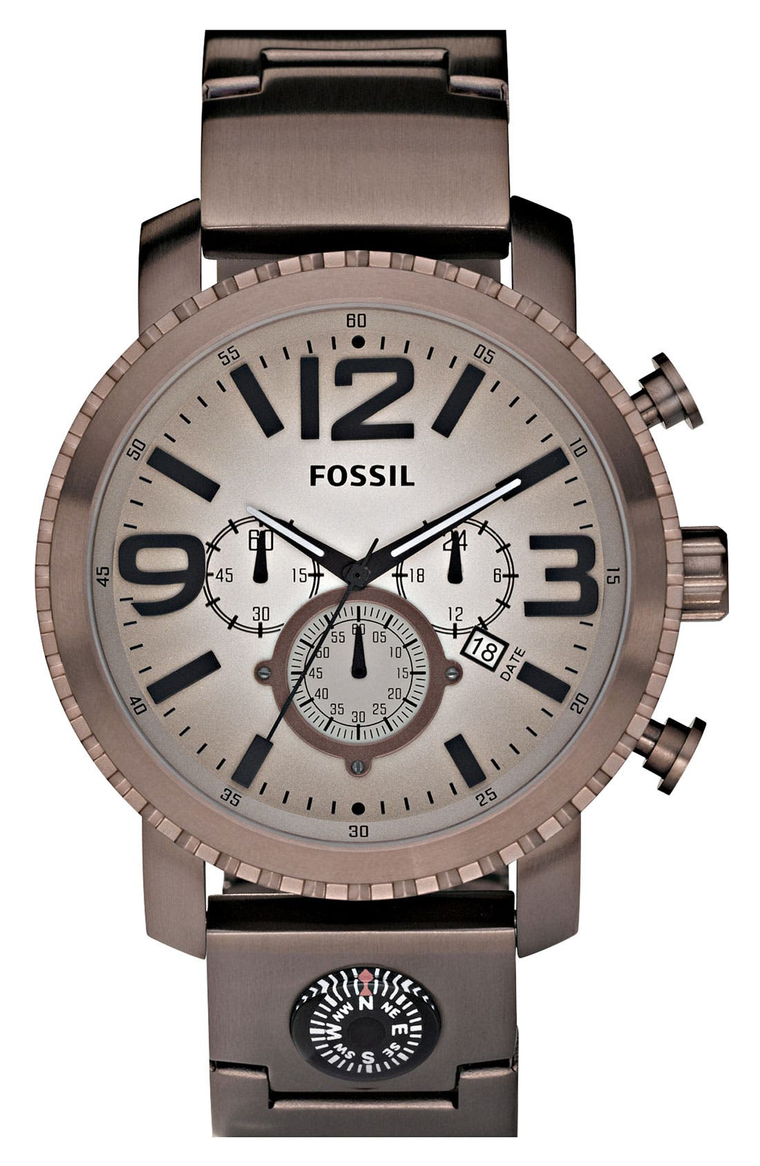 Alternate Image 1 Selected - Fossil 'Gage' Chronograph Compass Watch, 49mm