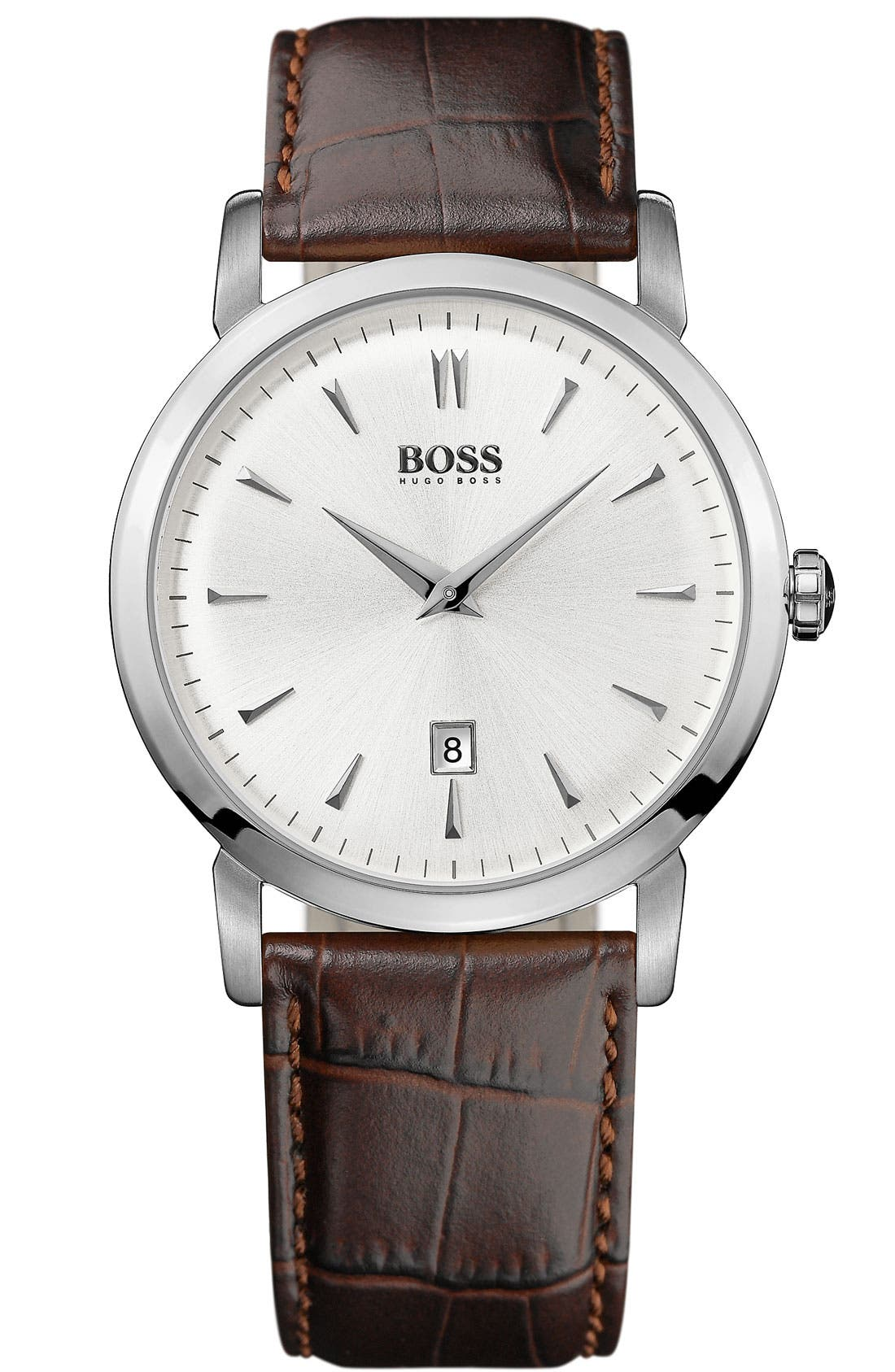 Alternate Image 1 Selected - BOSS HUGO BOSS Round Leather Strap Watch, 40mm