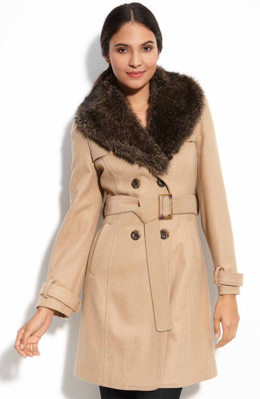Trench with Detachable Collar,                         Main,                         color, Camel/ Camel