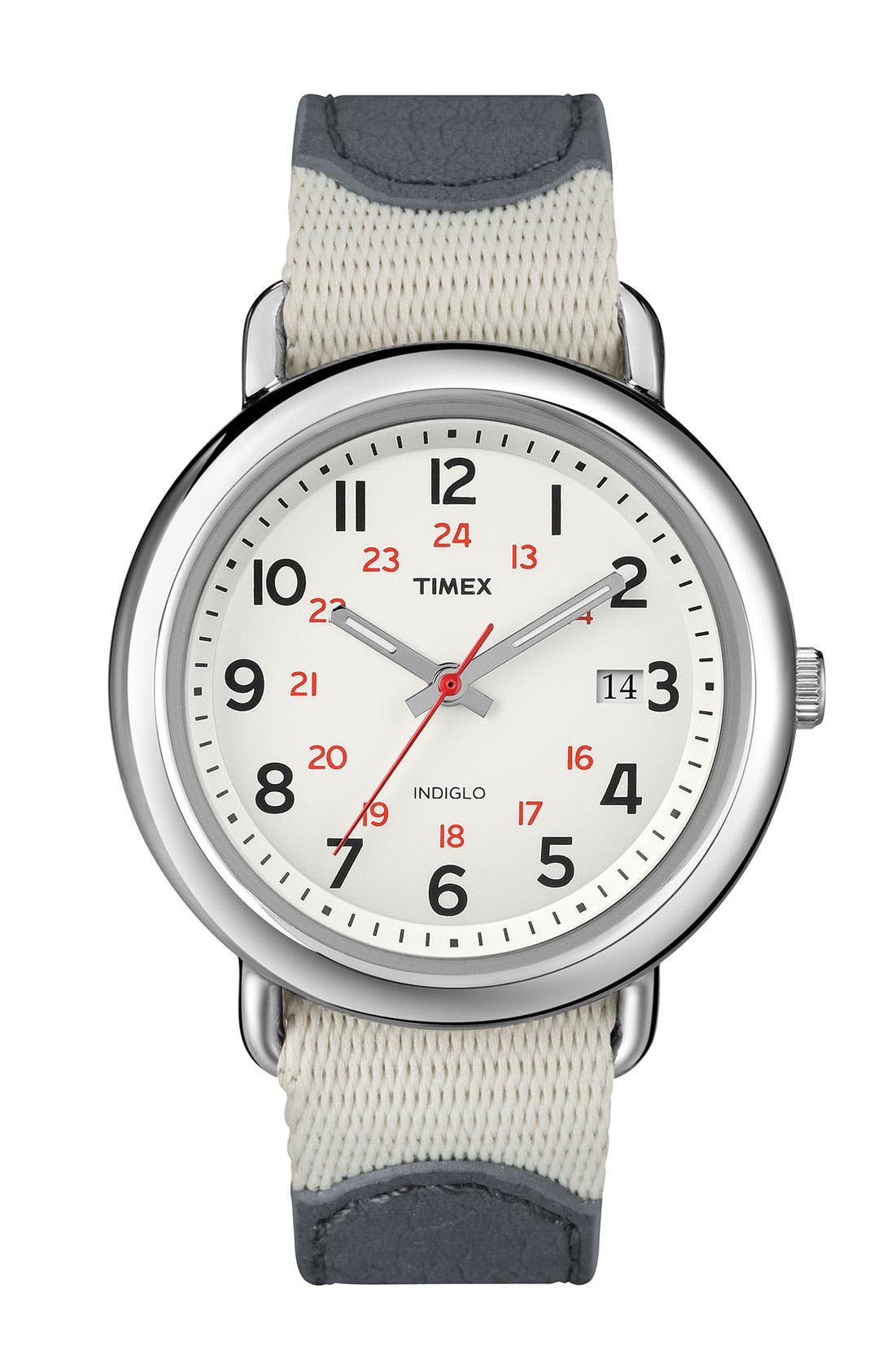 'Camper' Nylon & Leather Strap Watch,                             Main thumbnail 1, color,                             Grey