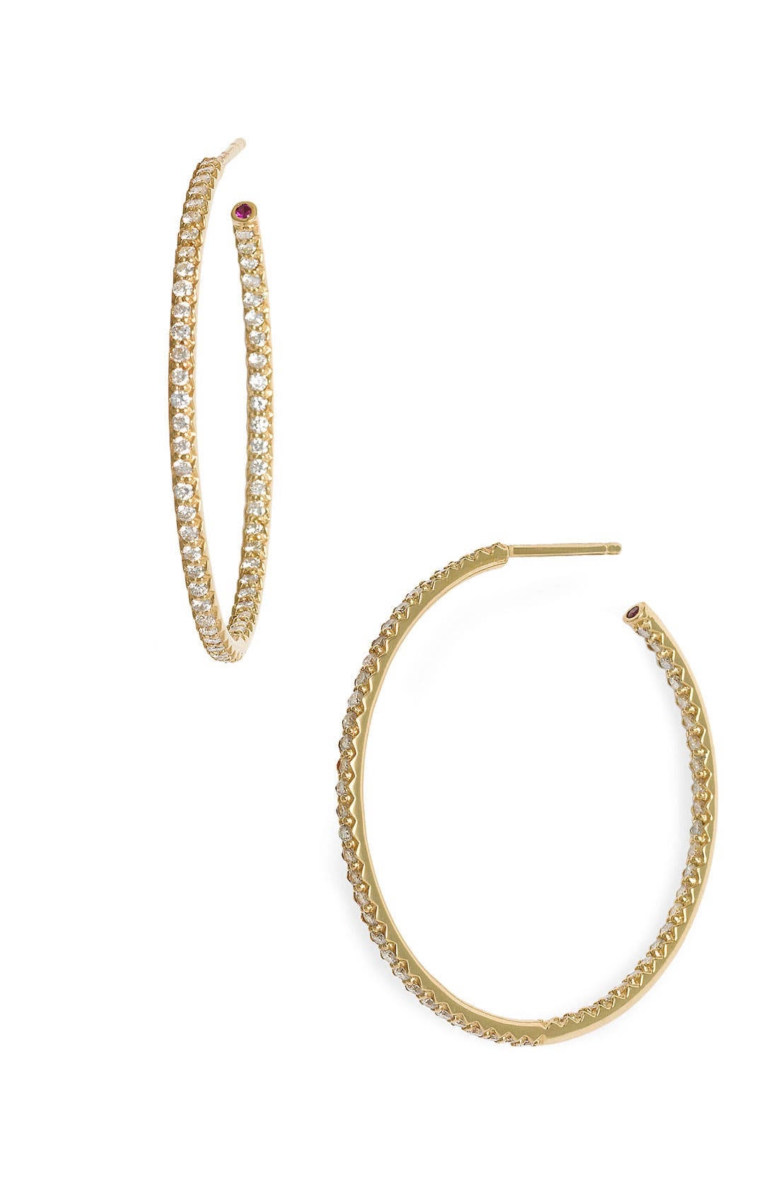 Alternate Image 1 Selected - Roberto Coin Inside Out Diamond Hoop Earrings