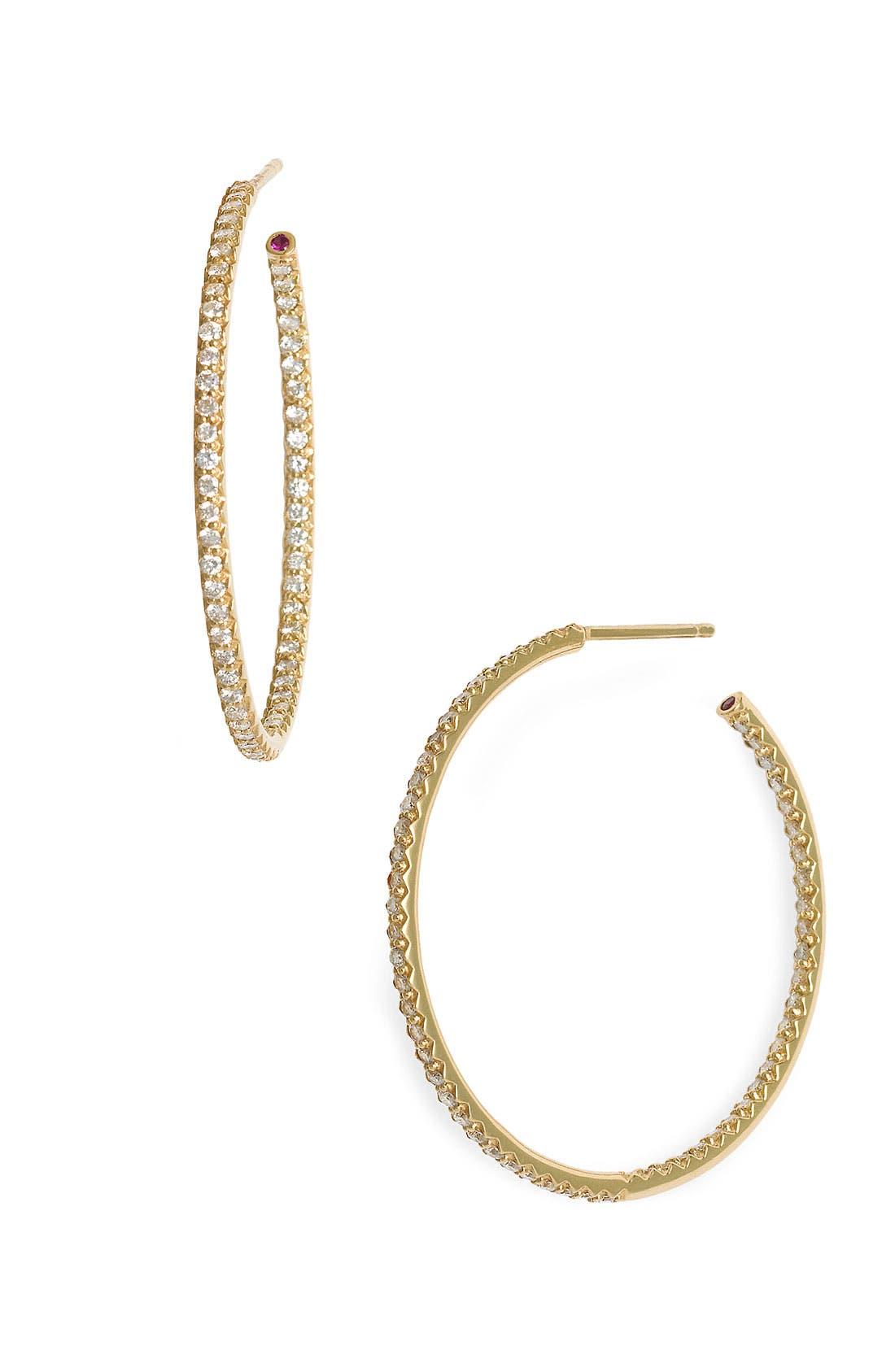 Main Image - Roberto Coin Inside Out Diamond Hoop Earrings