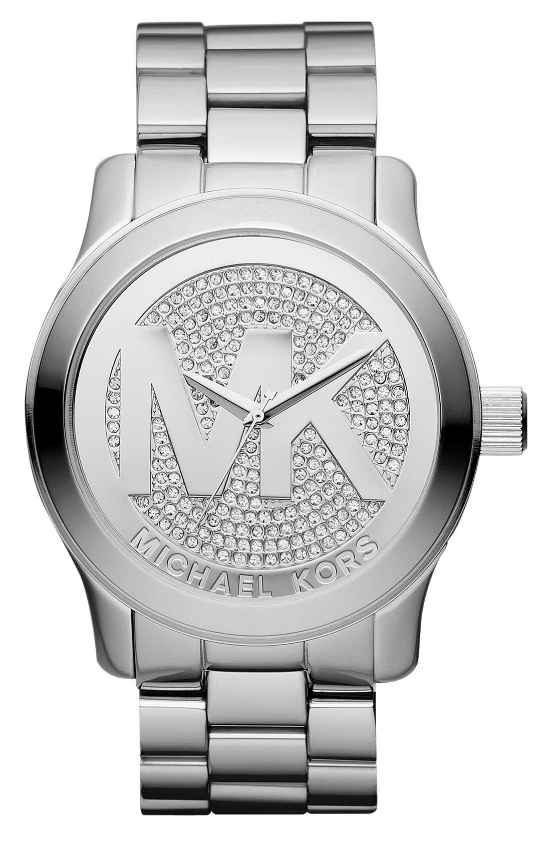 Main Image - Michael Kors 'Runway' Logo Dial Bracelet Watch, 45mm