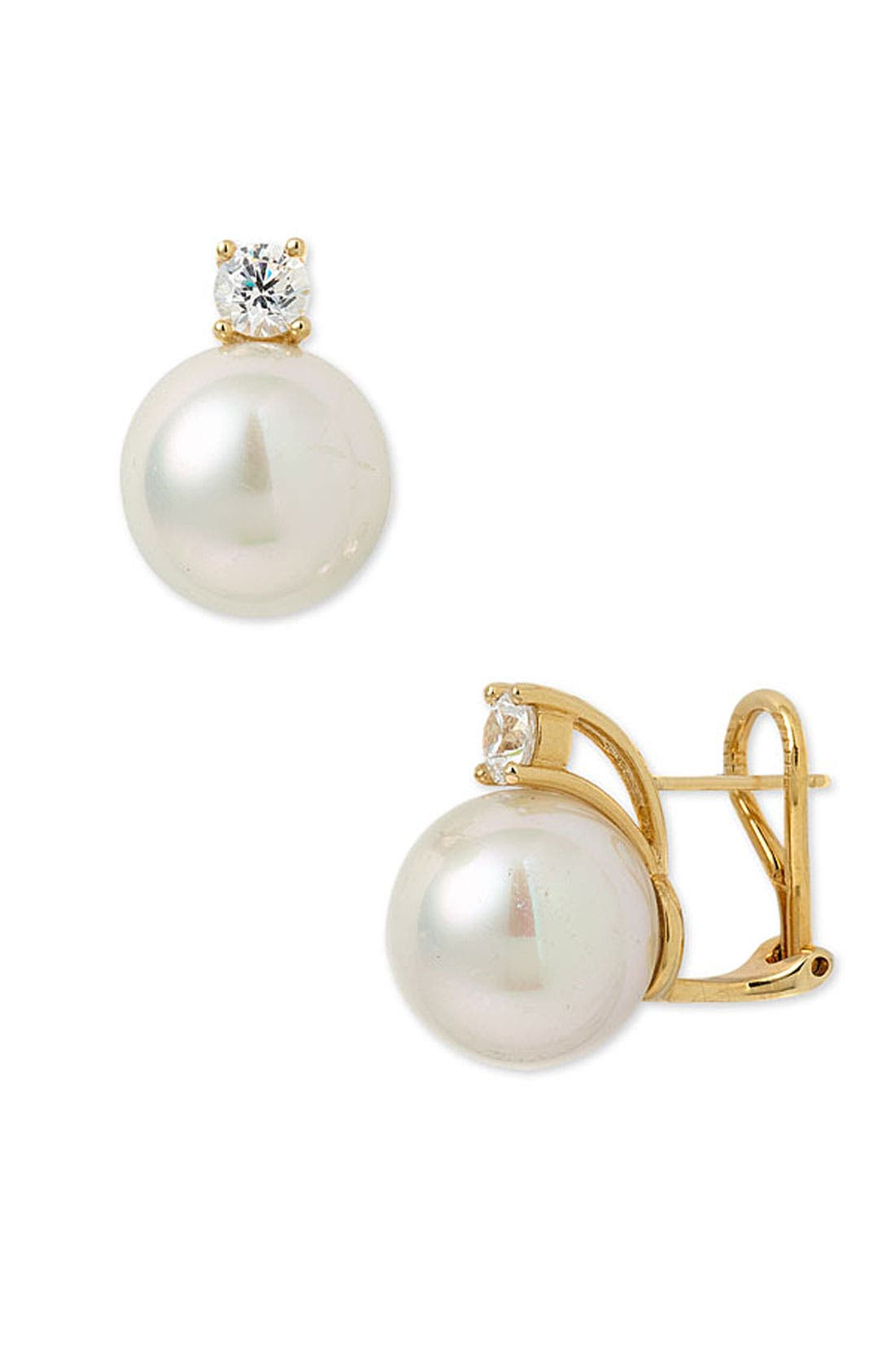 Main Image - Majorica 12mm Round Pearl Stud Earrings with Cubic Zirconia
