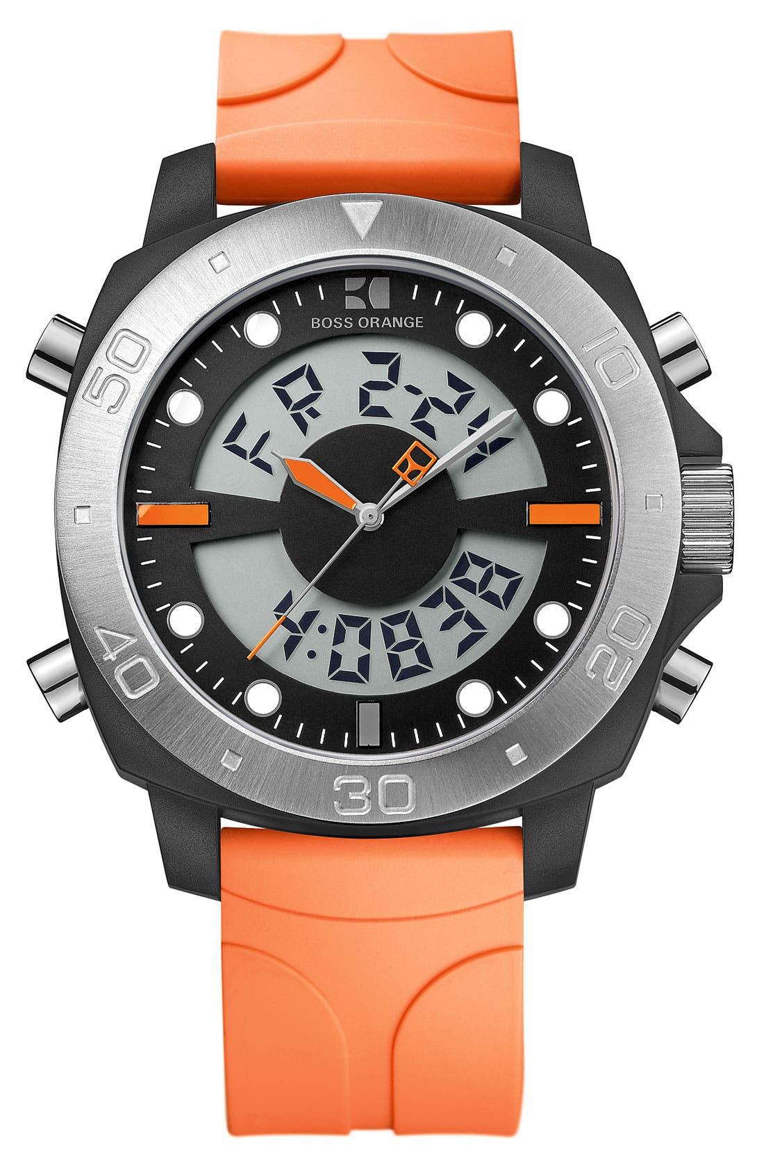 Alternate Image 1 Selected - BOSS Orange Dual Movement Rubber Strap Watch