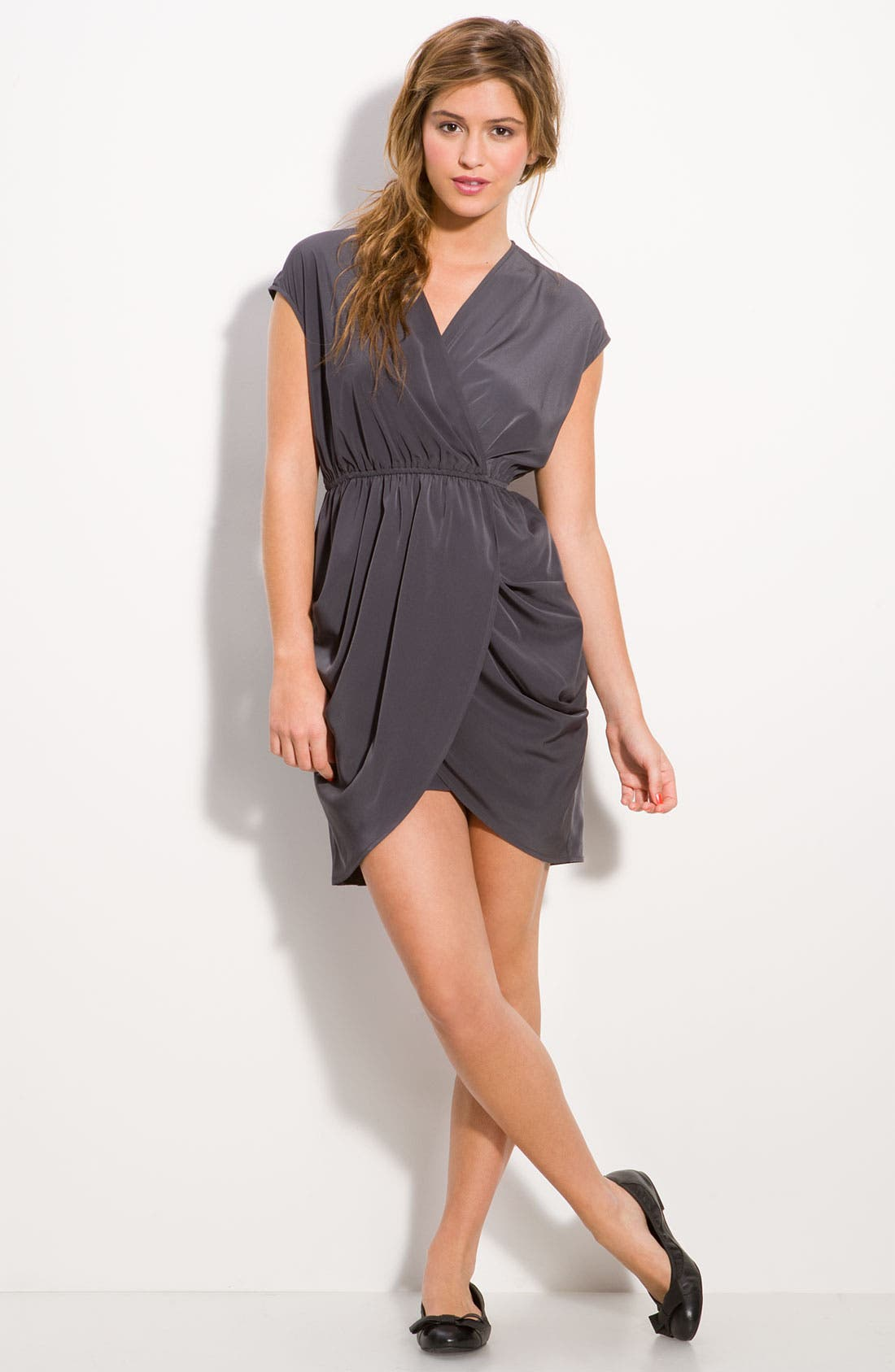 Alternate Image 4  - Soprano Faux Wrap Draped Tulip Dress (Juniors)