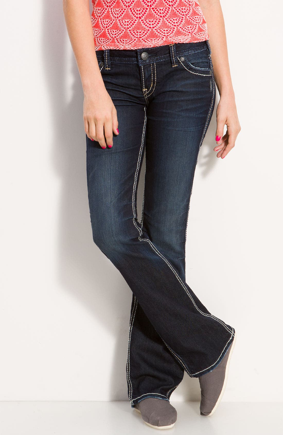 Alternate Image 2  - Silver Jeans Co. 'Frances' Bootcut Jeans (Indigo Wash) (Juniors Regular & Long)