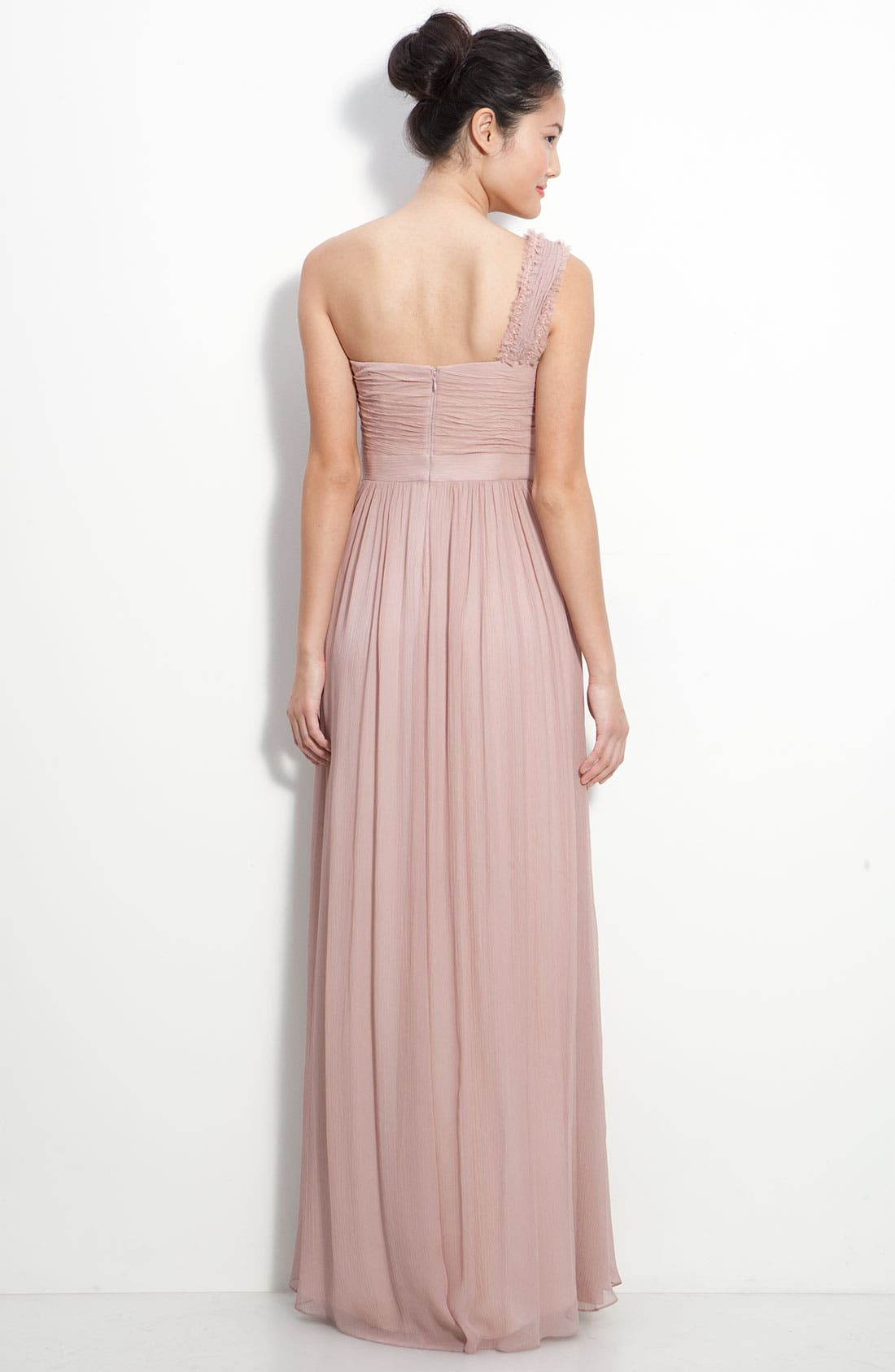 Alternate Image 2  - Adrianna Papell Ruched Chiffon One Shoulder Gown