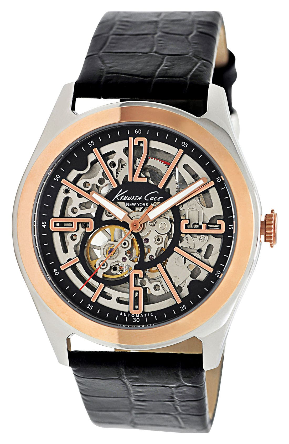 Alternate Image 1 Selected - Kenneth Cole New York Round Automatic Watch