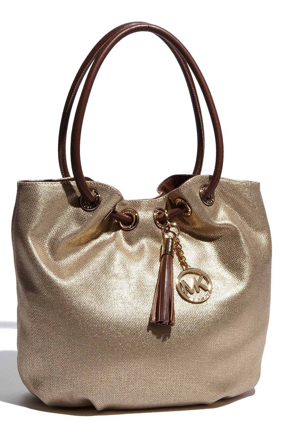 Main Image - MICHAEL Michael Kors 'Ring' Metallic Canvas Tote