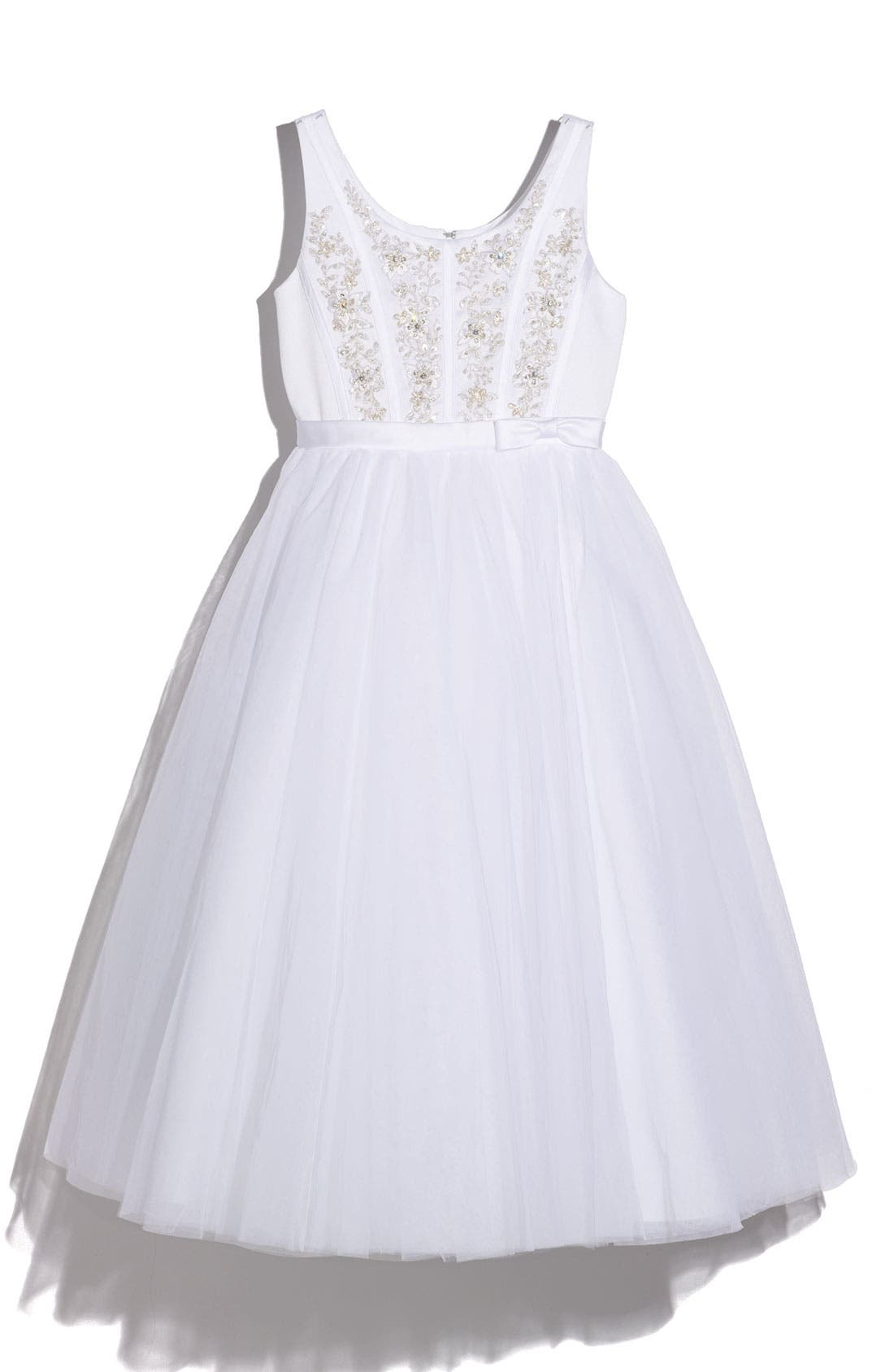 Alternate Image 1 Selected - Joan Calabrese for Mon Cheri Satin Sequin Dress (Big Girls)