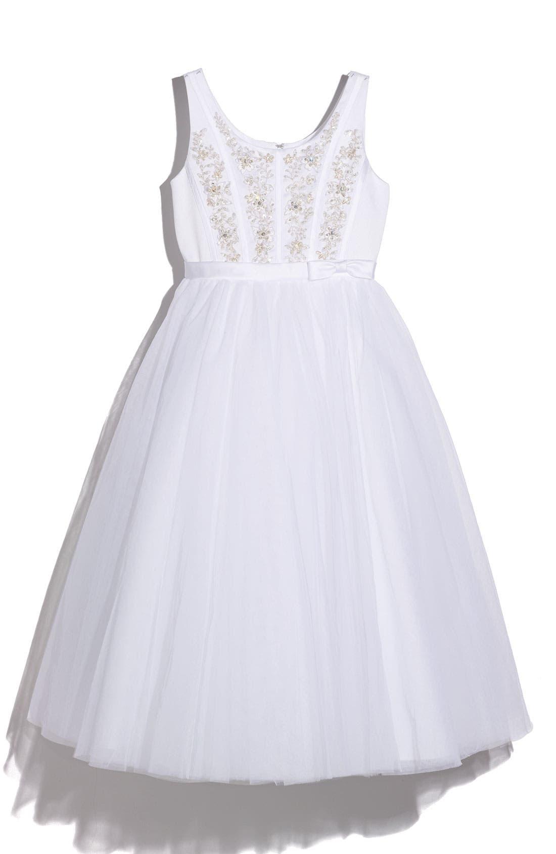 Main Image - Joan Calabrese for Mon Cheri Satin Sequin Dress (Big Girls)