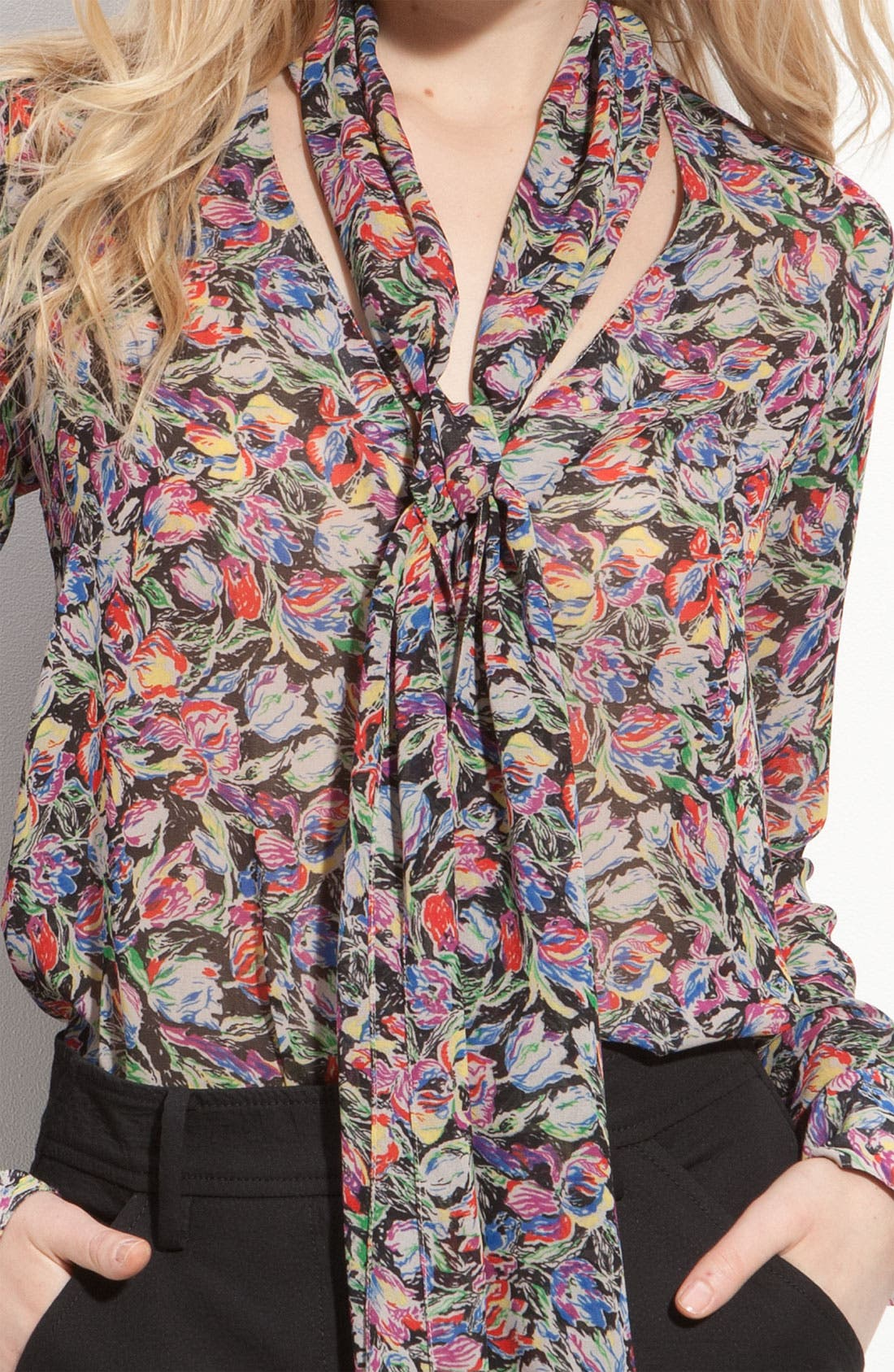 Alternate Image 3  - Derek Lam 10 Crosby Sheer Floral Tie Neck Blouse