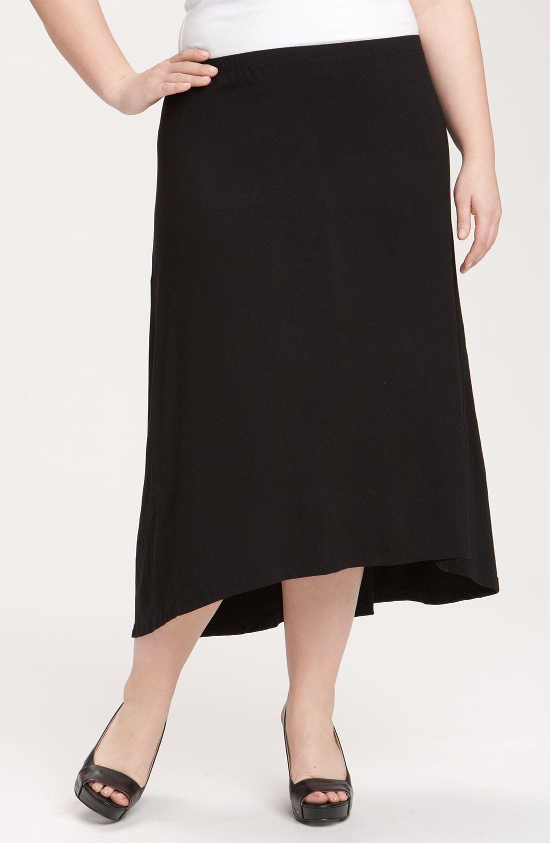 Alternate Image 1 Selected - Eileen Fisher Asymmetrical Hem Knit Skirt (Plus)