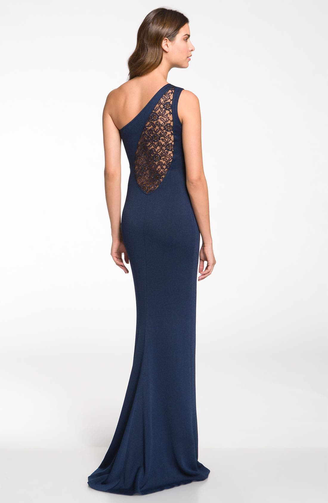 Alternate Image 2  - St. John Collection One Shoulder Shimmer Milano Knit Gown