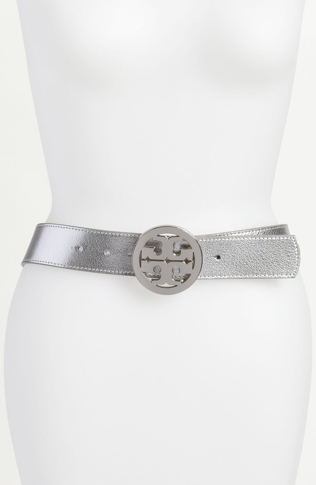 Alternate Image 1 Selected - Tory Burch Metallic Logo Belt