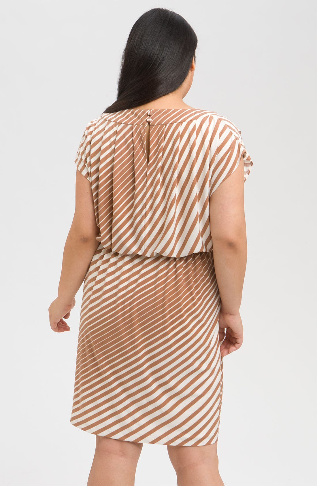 Alternate Image 2  - Donna Ricco Pleat Neck Blouson Jersey Dress (Plus Size)