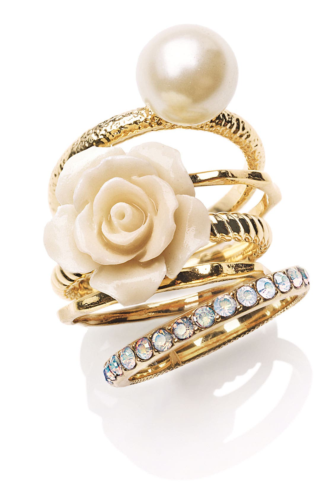 Main Image - Ariella Collection Flower & Faux Pearl Stack Rings (Set of 5) (Nordstrom Exclusive)