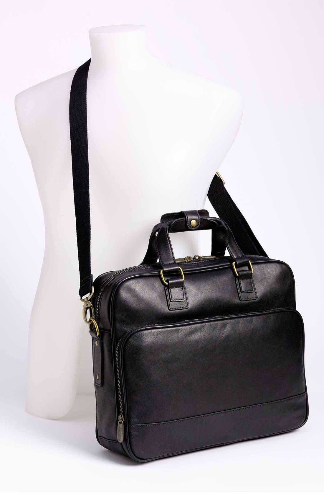 Top Zip Leather Briefcase,                             Alternate thumbnail 2, color,                             Black