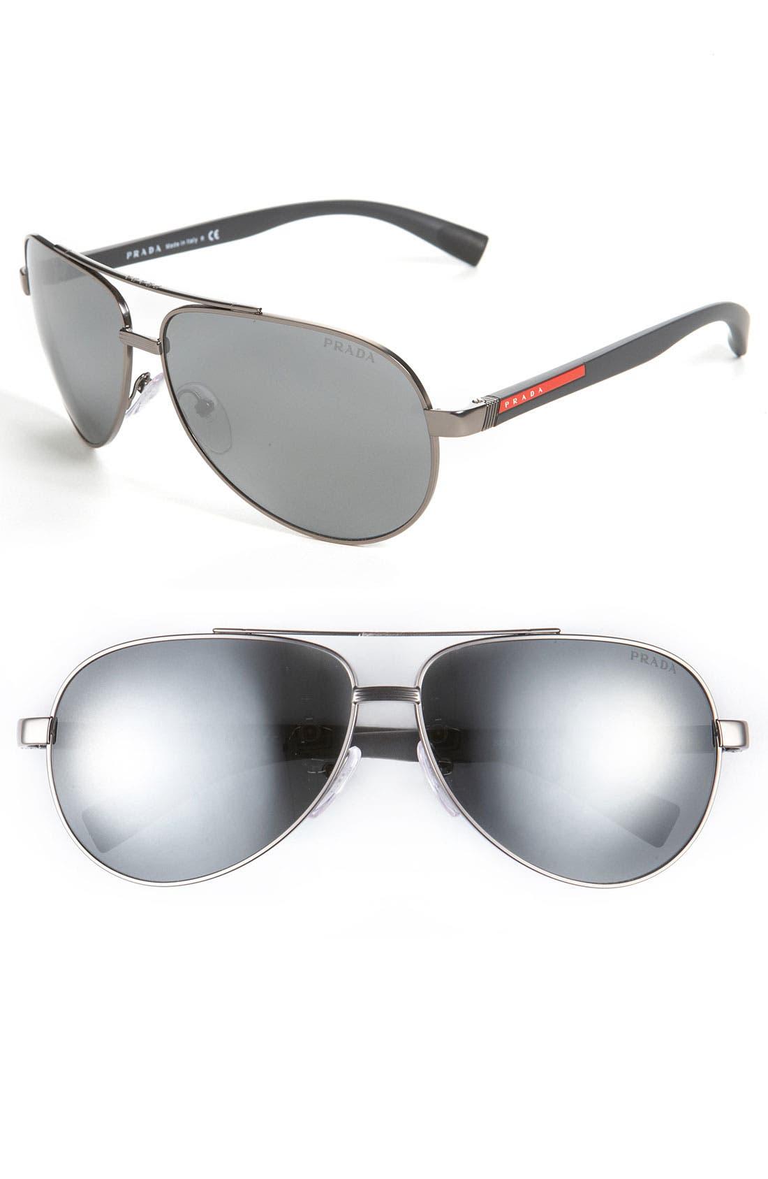 Main Image - Prada 63mm Metal Aviator Sunglasses