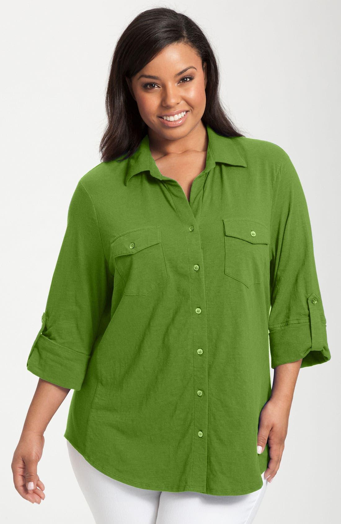 Alternate Image 1 Selected - Sandra Ingrish Roll Sleeve Knit Shirt (Plus Size)
