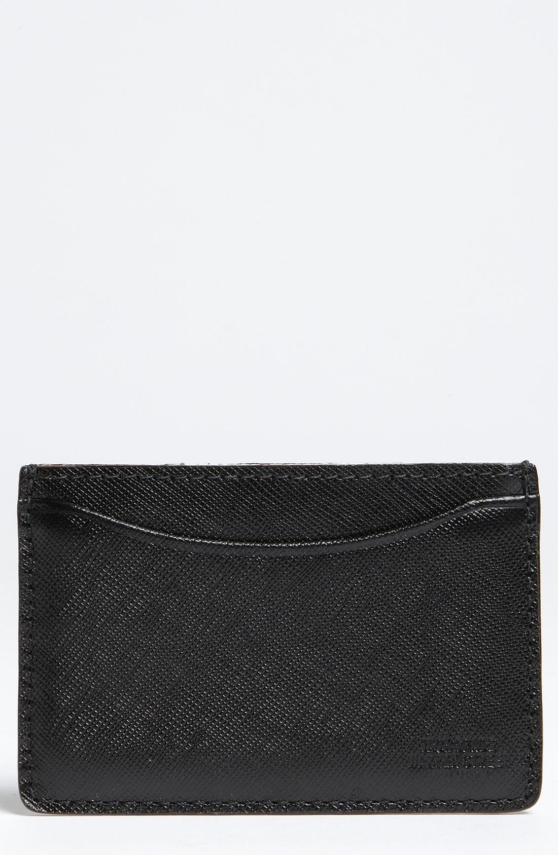 Alternate Image 1 Selected - Jack Spade Crosshatched Leather Card Holder