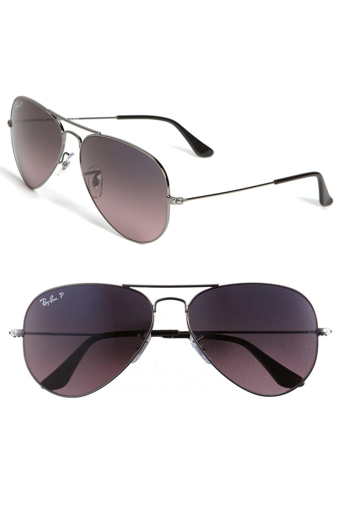 Alternate Image 1 Selected - Ray-Ban Original Aviator 58mm Polarized Sunglasses