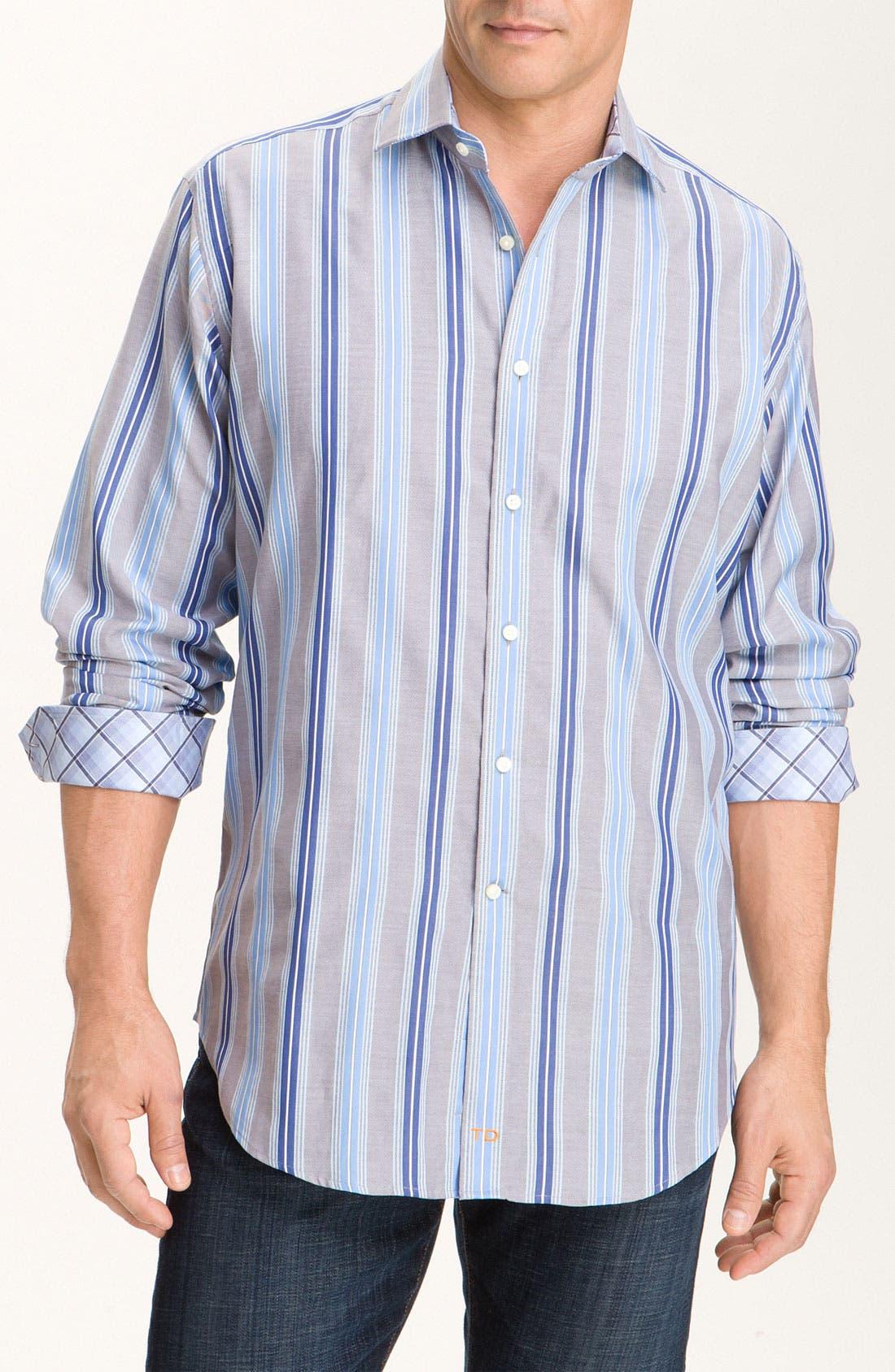 Alternate Image 1 Selected - Thomas Dean Stripe Sport Shirt