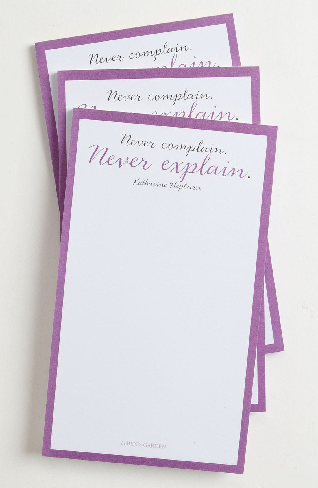 Alternate Image 1 Selected - Ben's Garden 'Never Complain, Never Explain' Notepads (3-Pack)