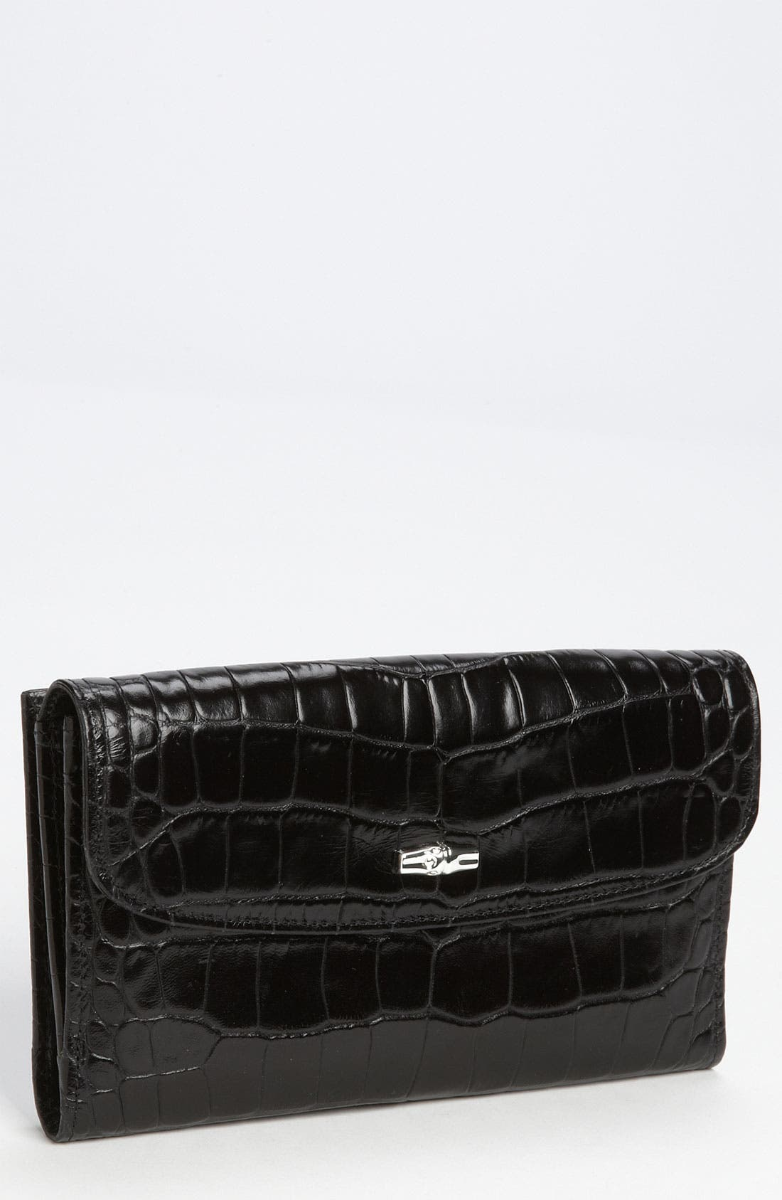 Alternate Image 1 Selected - Longchamp 'Roseau' Croc Embossed Wallet