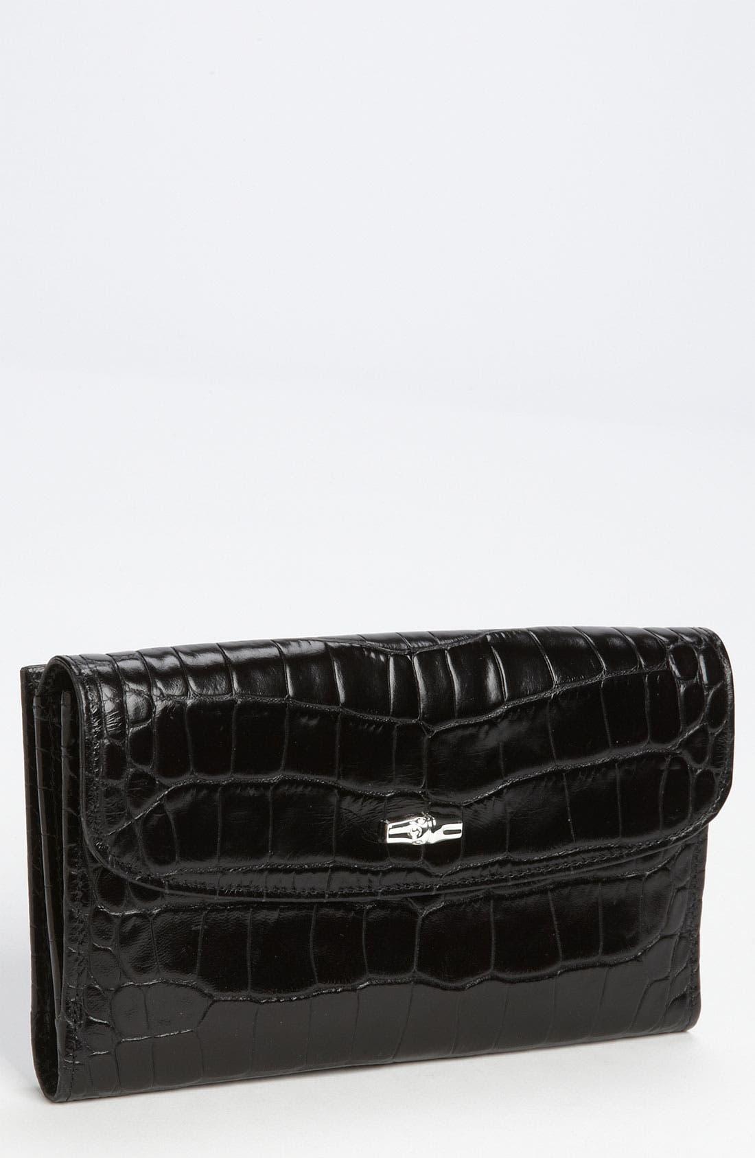 Main Image - Longchamp 'Roseau' Croc Embossed Wallet